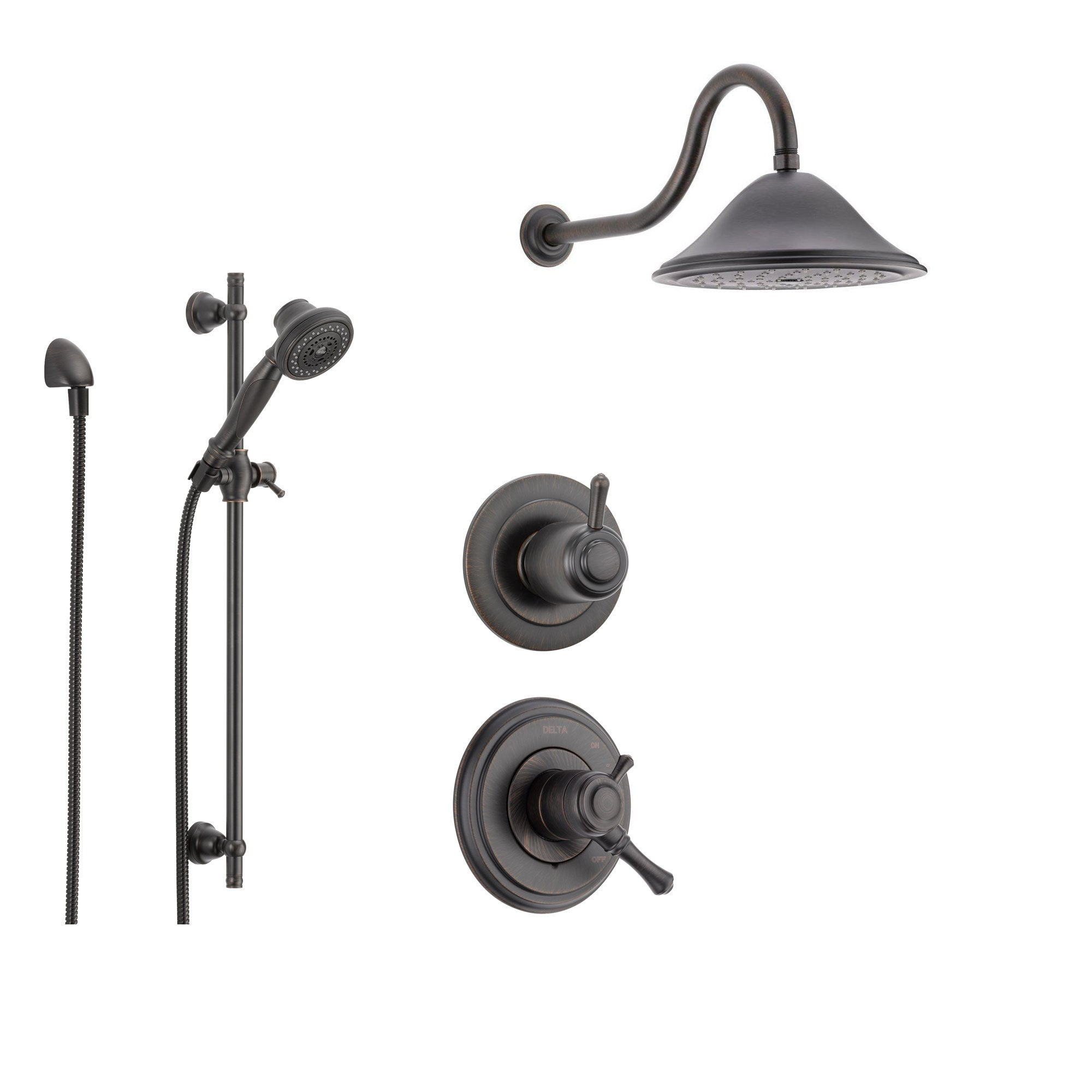 Delta Cassidy Venetian Bronze Shower System With Dual Control Shower Handle 3 Setting Diverter Large Rain Shower Head And Handheld Shower Spray