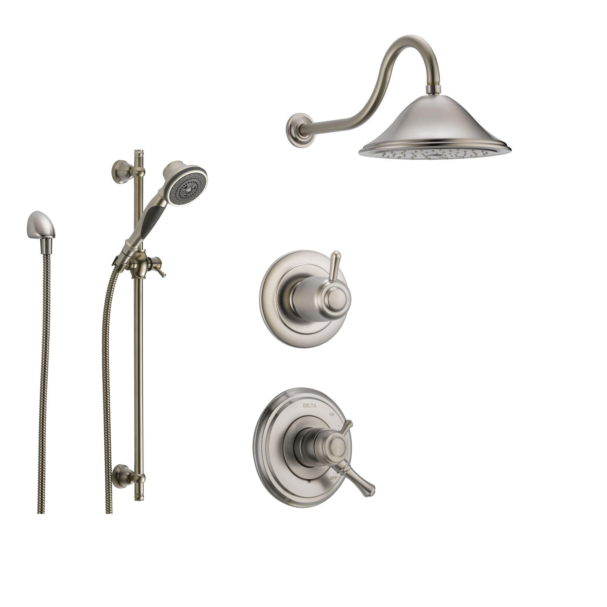 Delta Cassidy Stainless Steel Shower System with Dual Control Shower Handle, 3-setting Diverter, Large Rain Showerhead, and Handheld Shower SS179782SS