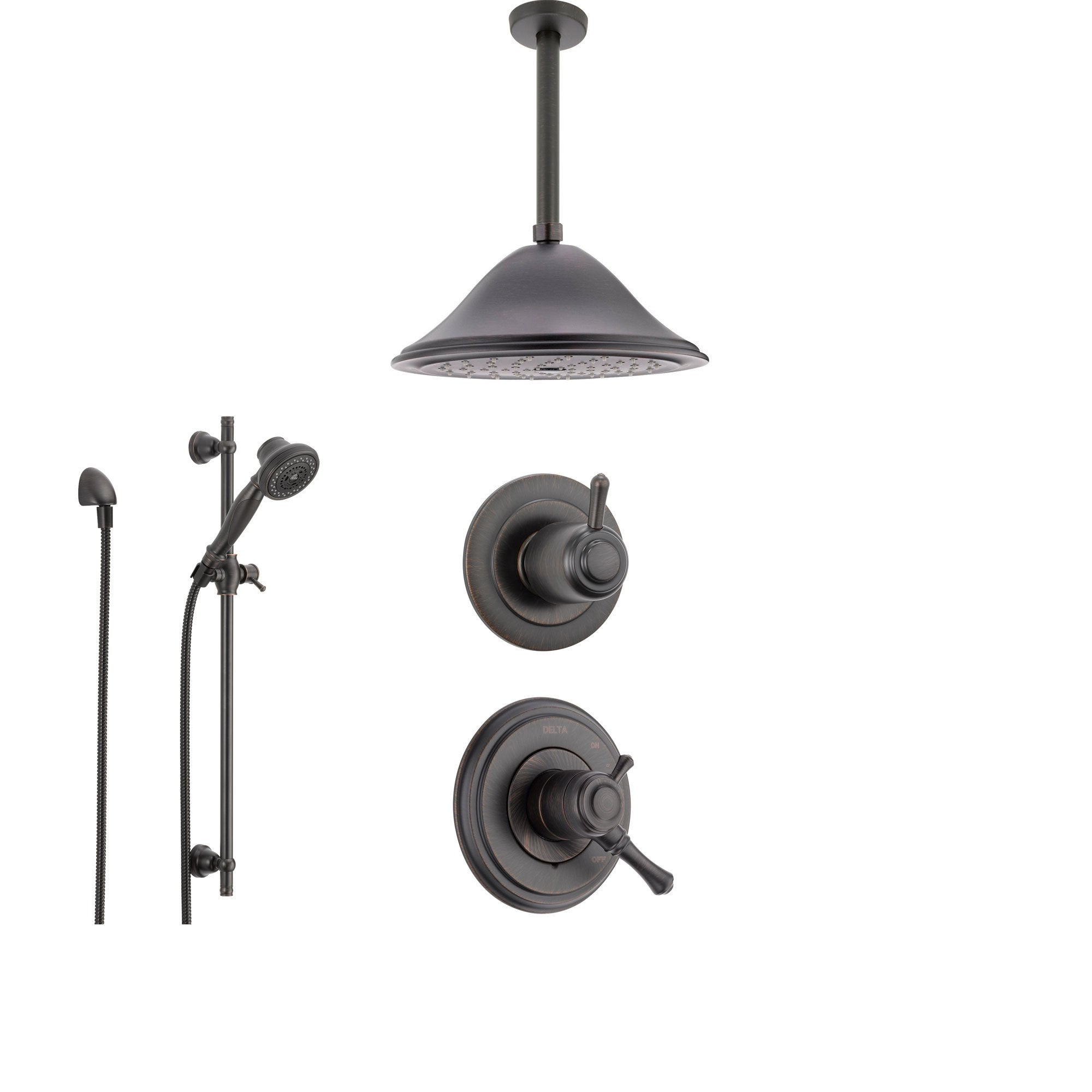 Delta Cassidy Venetian Bronze Shower System with Dual Control Shower Handle, 3-setting Diverter, Large Ceiling Mount Rain Showerhead, and Handheld Shower SS179784RB