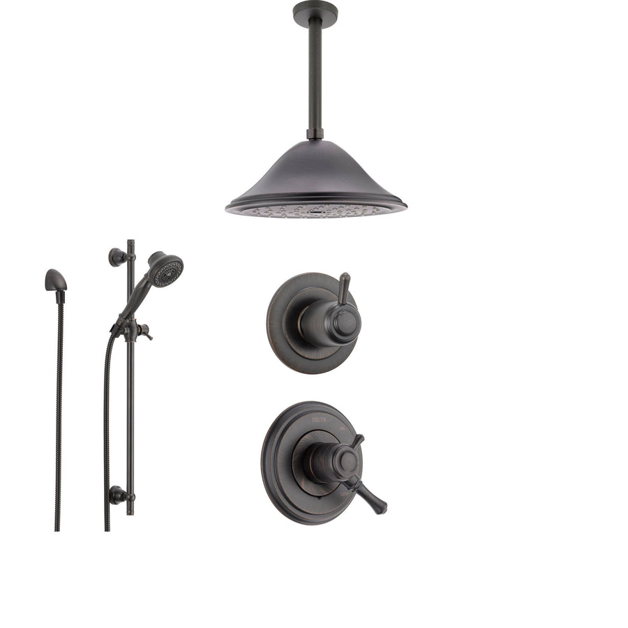 delta cassidy venetian bronze shower system with dual control shower handle 3setting diverter - Delta Cassidy