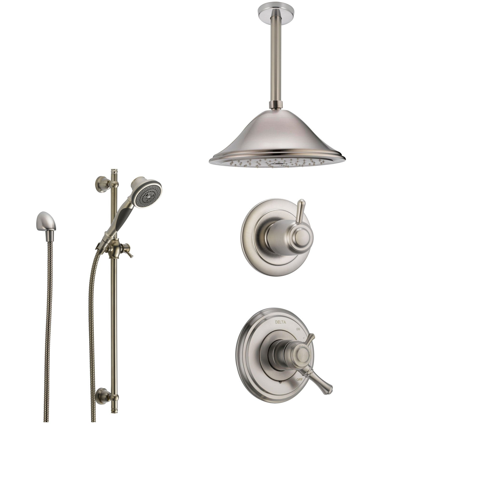 Delta Cassidy Stainless Steel Shower System with Dual Control Shower Handle, 3-setting Diverter, Large Rain Showerhead, and Handheld Shower SS179784SS