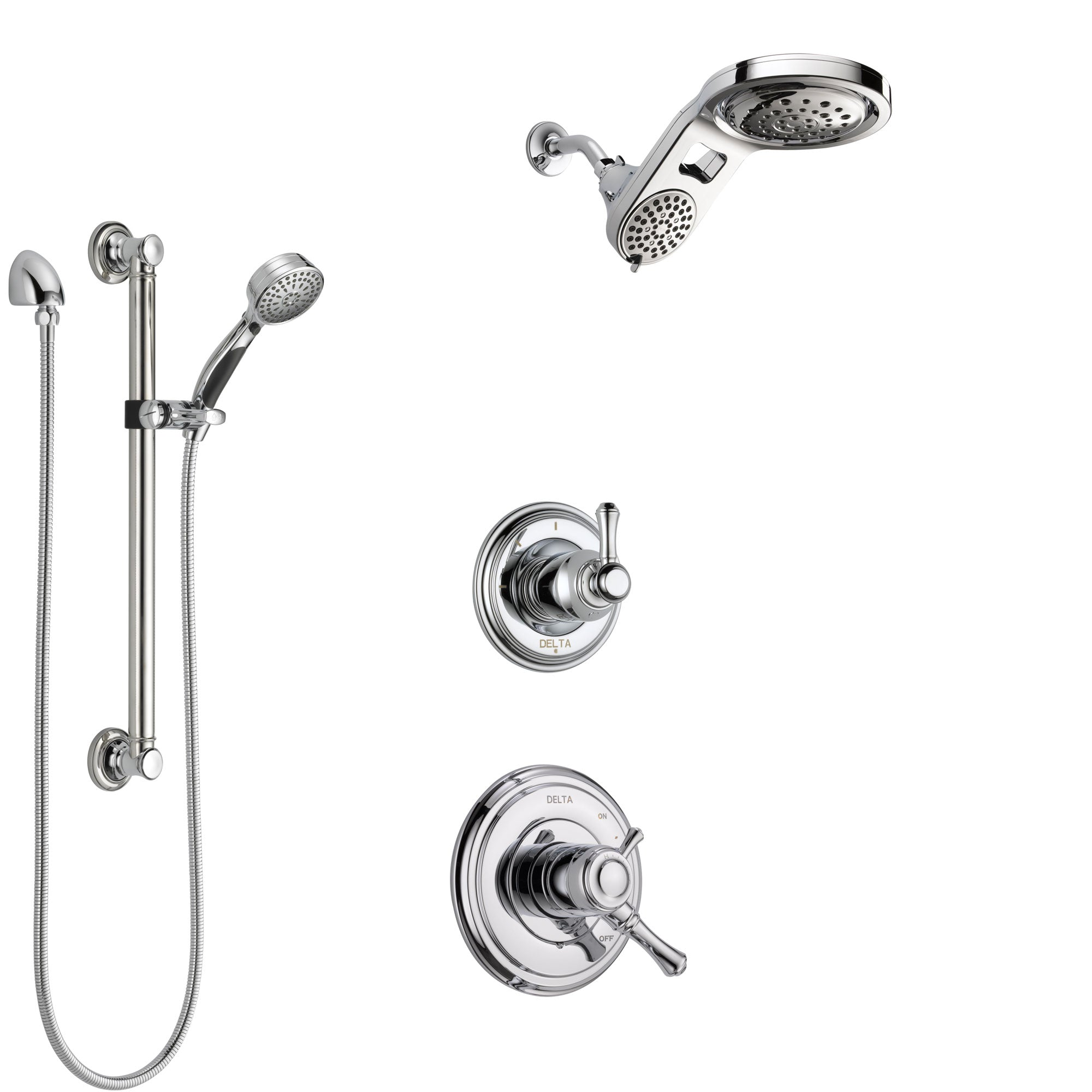 Delta Cassidy Chrome Finish Shower System with Dual Control Handle, 3-Setting Diverter, Dual Showerhead, and Hand Shower with Grab Bar SS17978