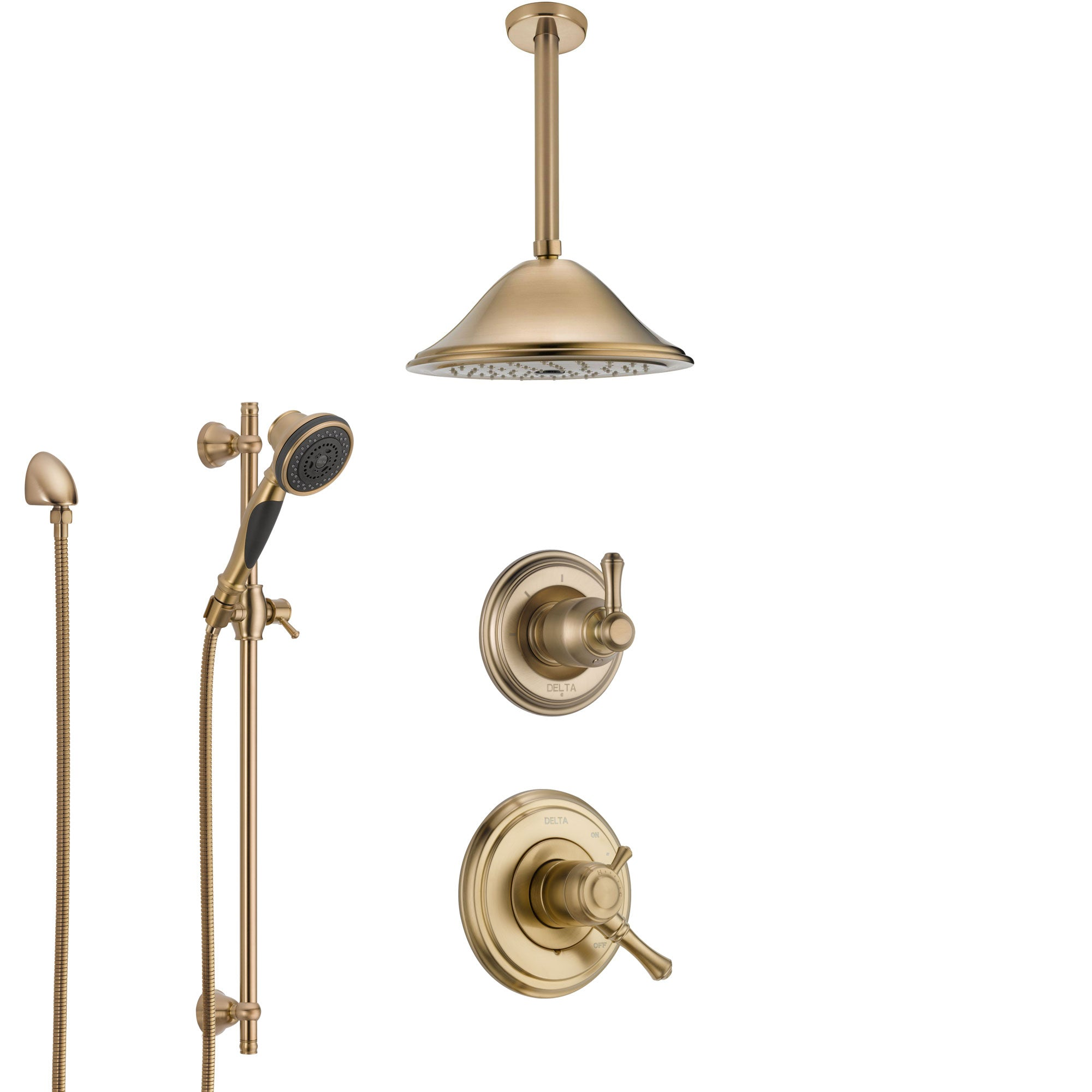 Delta Cassidy Champagne Bronze Shower System with Dual Control Handle, Diverter, Ceiling Mount Showerhead, and Hand Shower with Slidebar SS1797CZ1