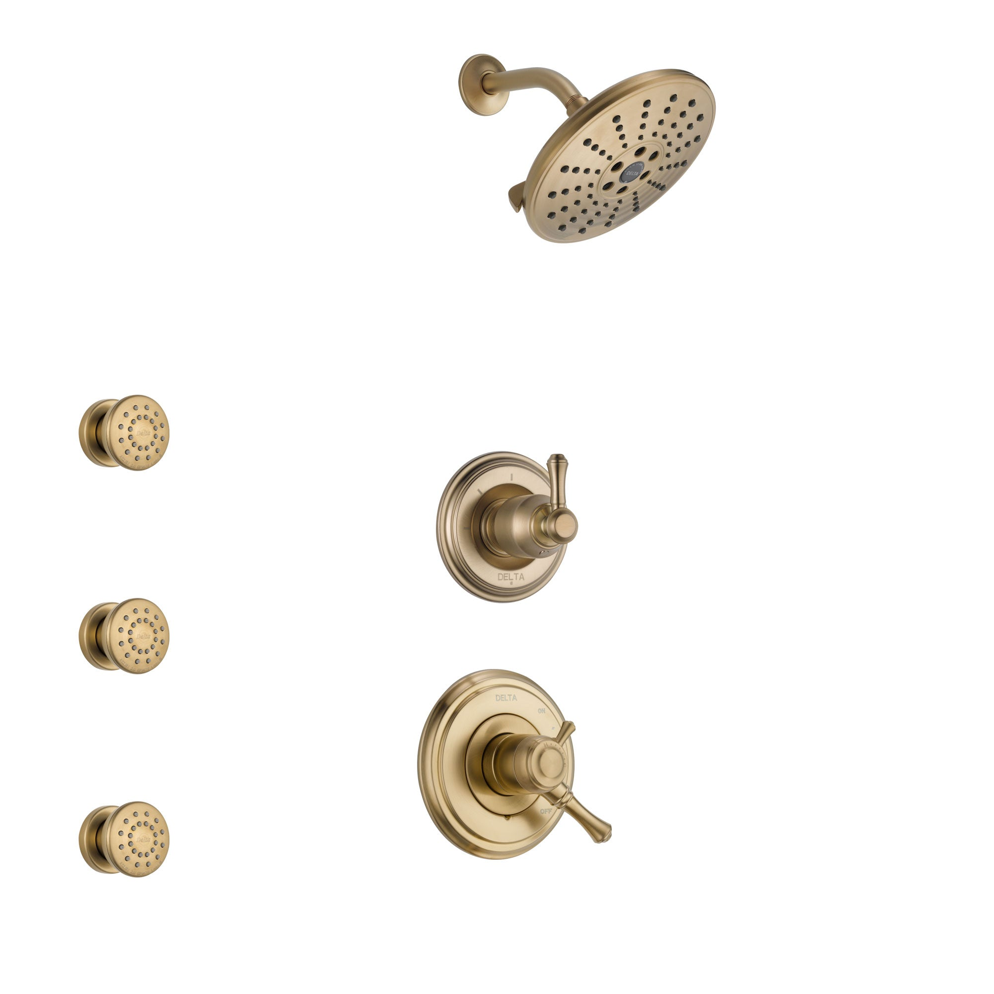 Delta Cassidy Champagne Bronze Finish Shower System with Dual Control Handle, 3-Setting Diverter, Showerhead, and 3 Body Sprays SS1797CZ6