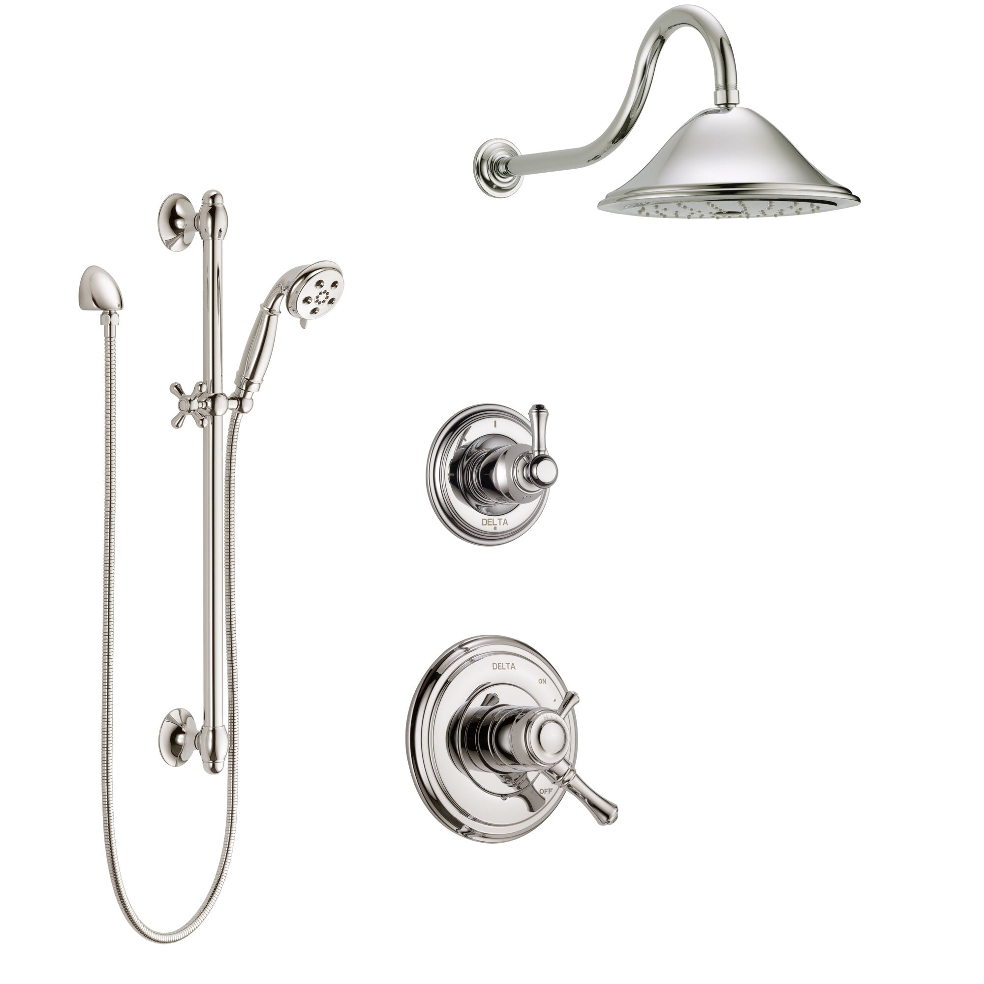 Delta Cassidy Polished Nickel Finish Shower System with Dual Control Handle, 3-Setting Diverter, Showerhead, and Hand Shower with Slidebar SS1797PN2