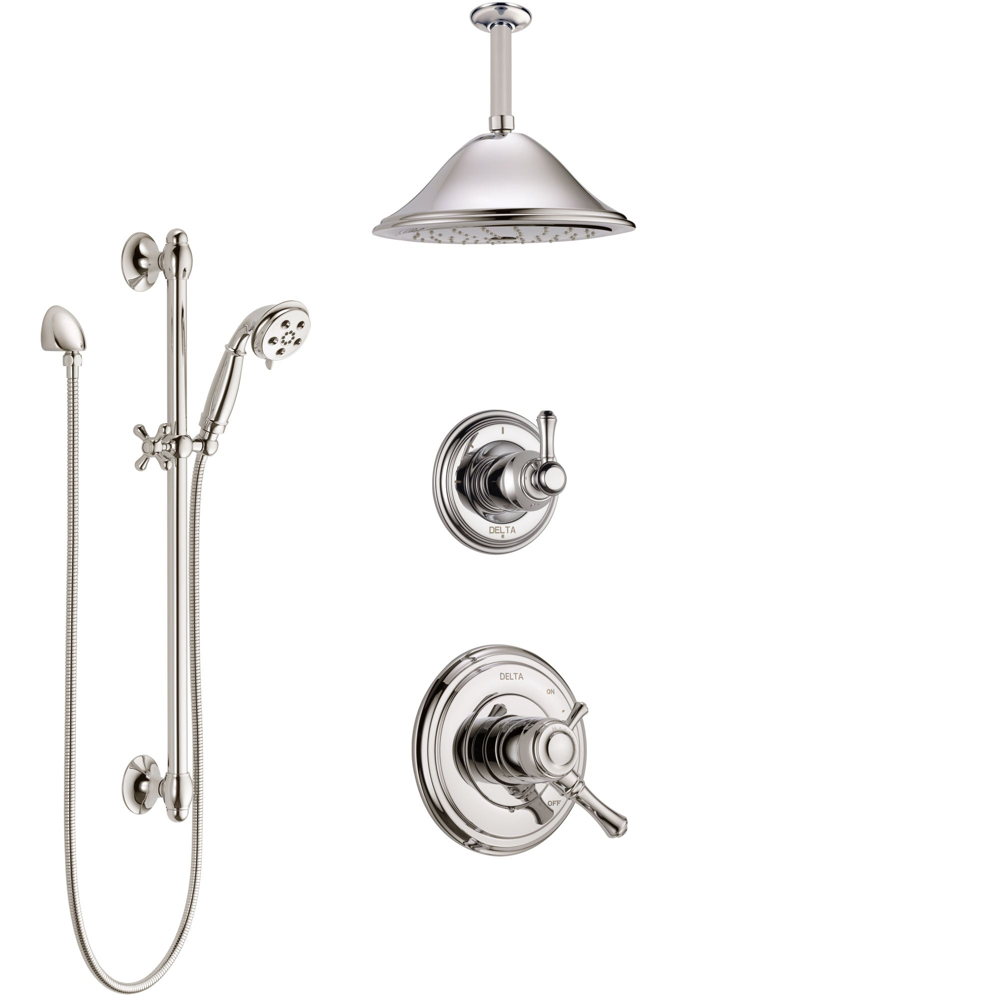 Delta Cassidy Polished Nickel Shower System with Dual Control Handle, Diverter, Ceiling Mount Showerhead, and Hand Shower with Slidebar SS1797PN3
