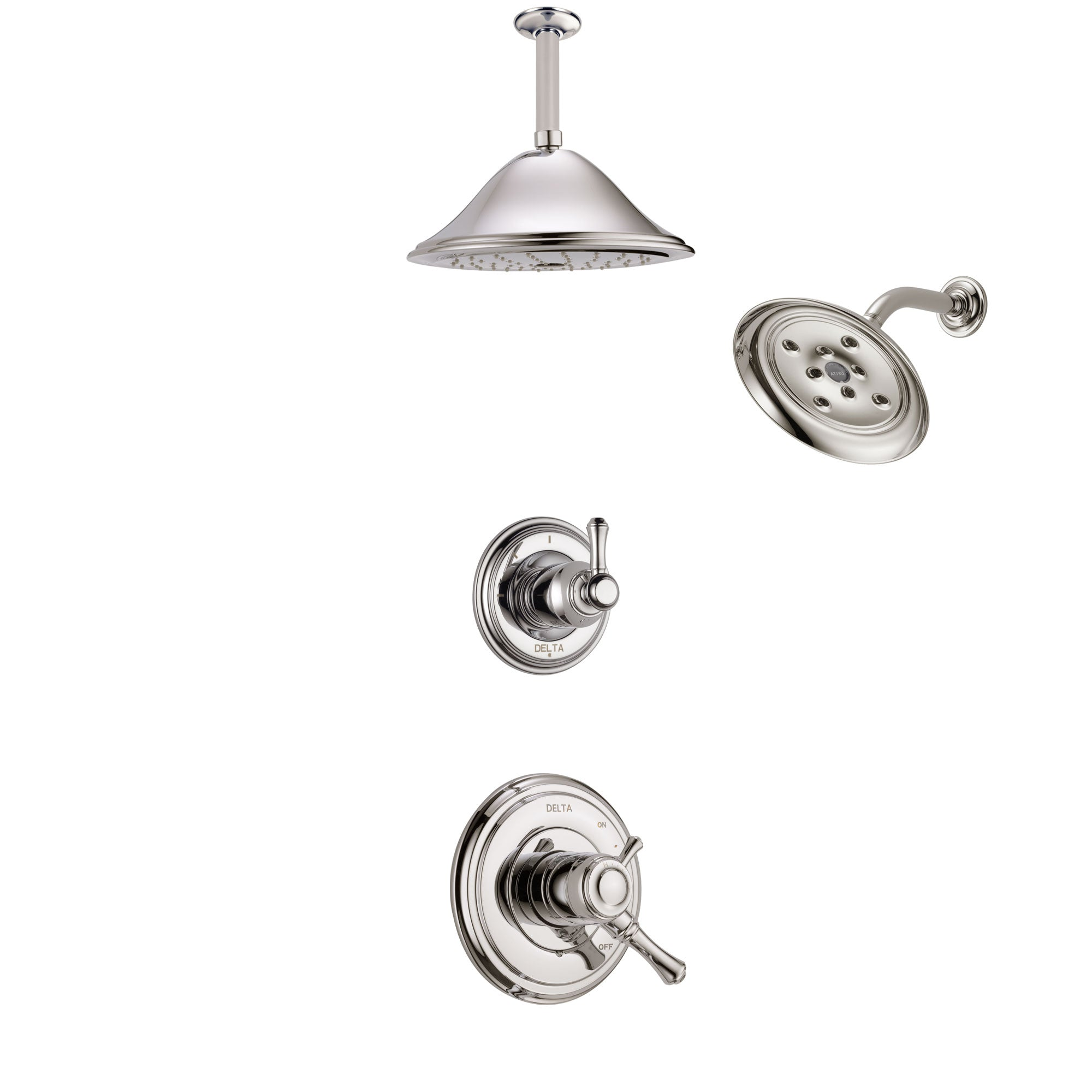 Delta Cassidy Polished Nickel Finish Shower System with Dual Control Handle, 3-Setting Diverter, Showerhead, and Ceiling Mount Showerhead SS1797PN7