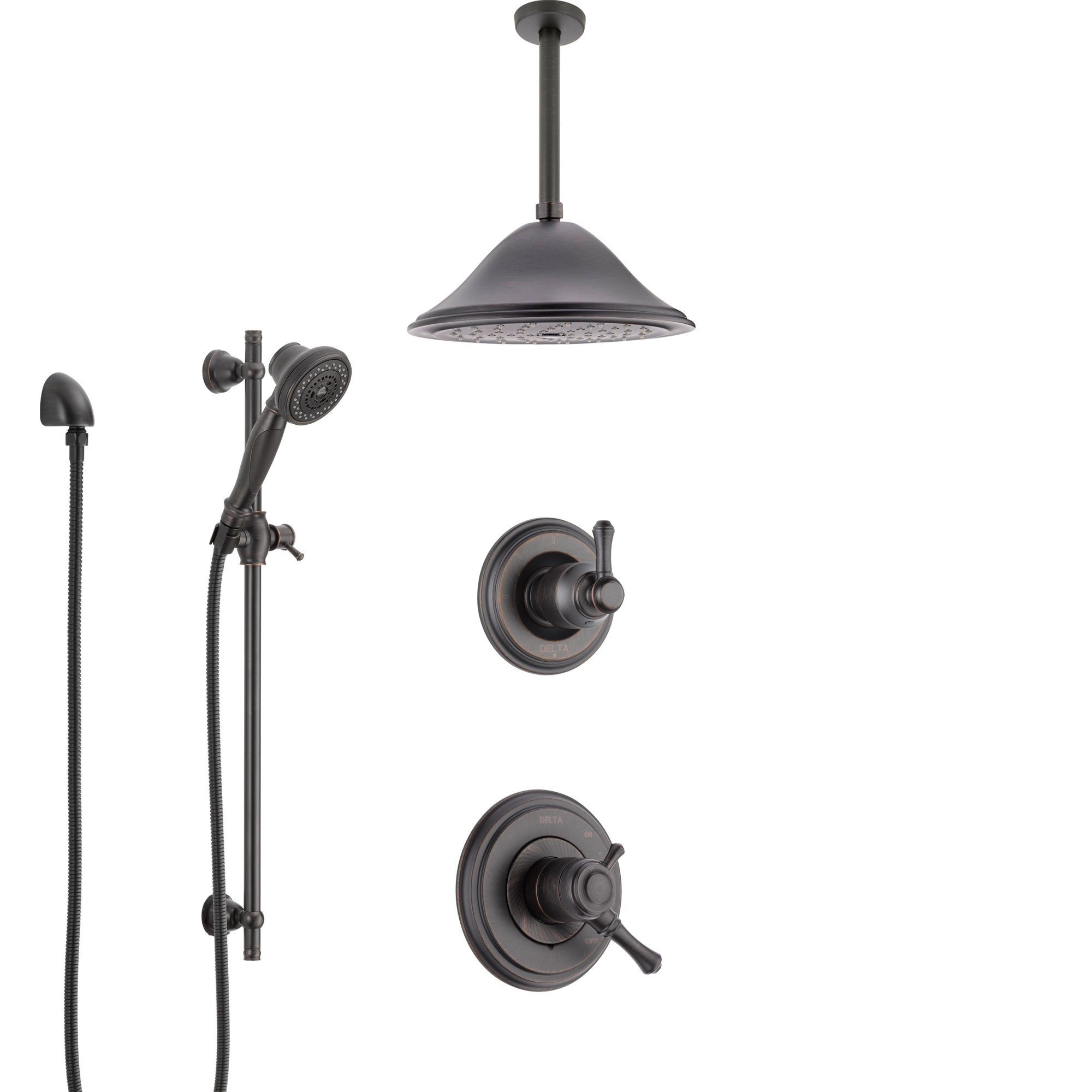 Delta Cassidy Venetian Bronze Shower System with Dual Control Handle, Diverter, Ceiling Mount Showerhead, and Hand Shower with Slidebar SS1797RB4
