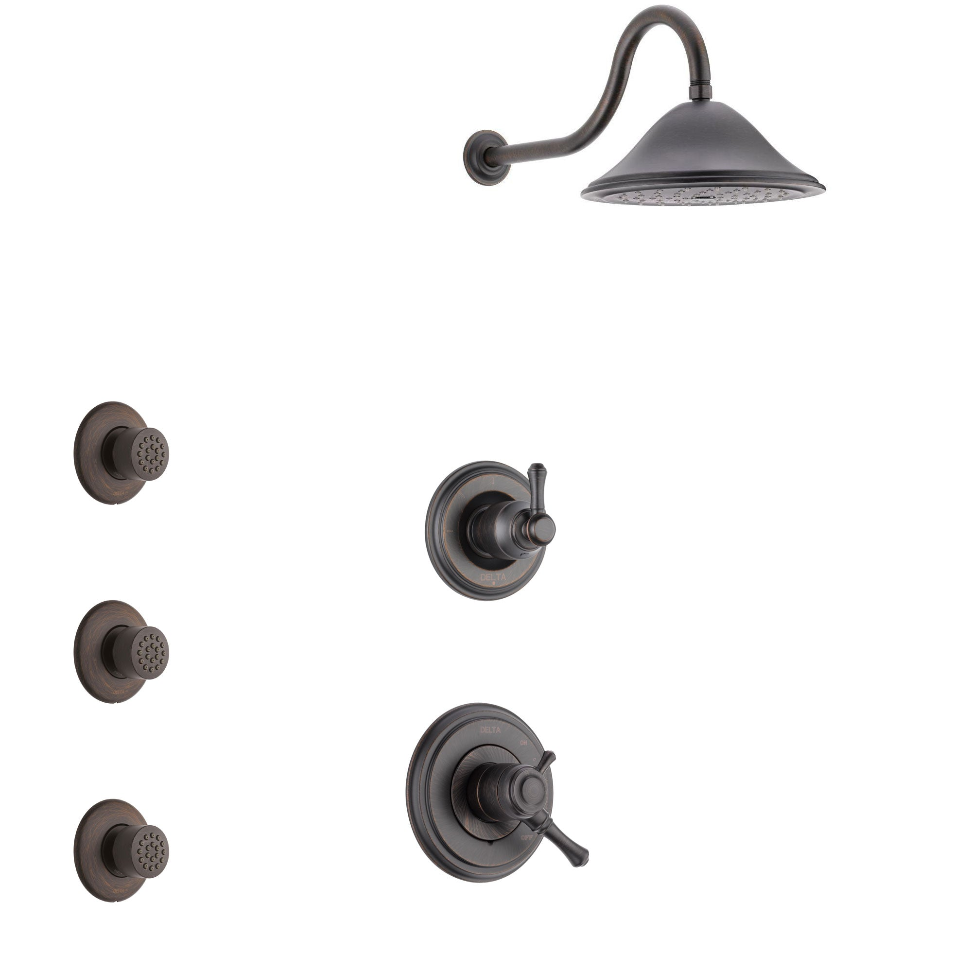 Delta Cassidy Venetian Bronze Finish Shower System with Dual Control Handle, 3-Setting Diverter, Showerhead, and 3 Body Sprays SS1797RB7
