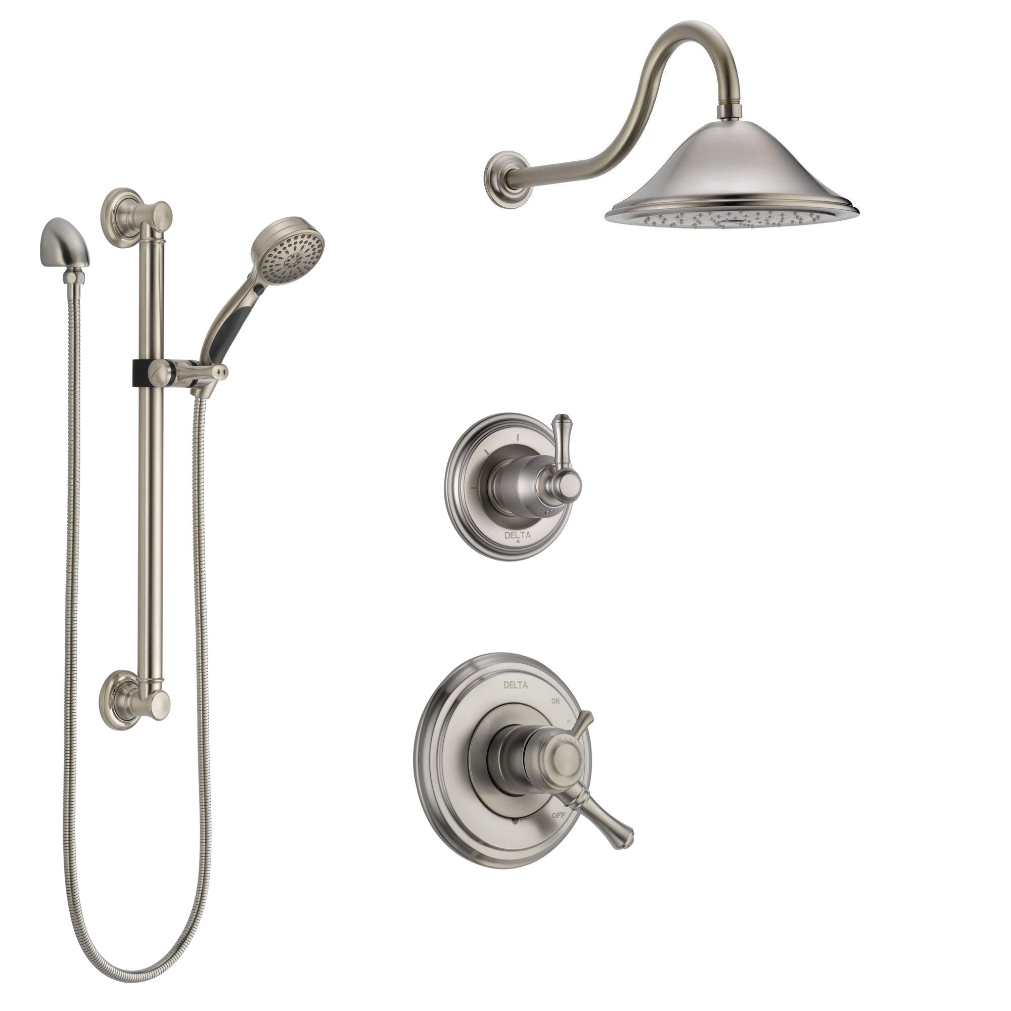 Delta Cassidy Stainless Steel Finish Shower System with Dual Control Handle, 3-Setting Diverter, Showerhead, and Hand Shower with Grab Bar SS1797SS1