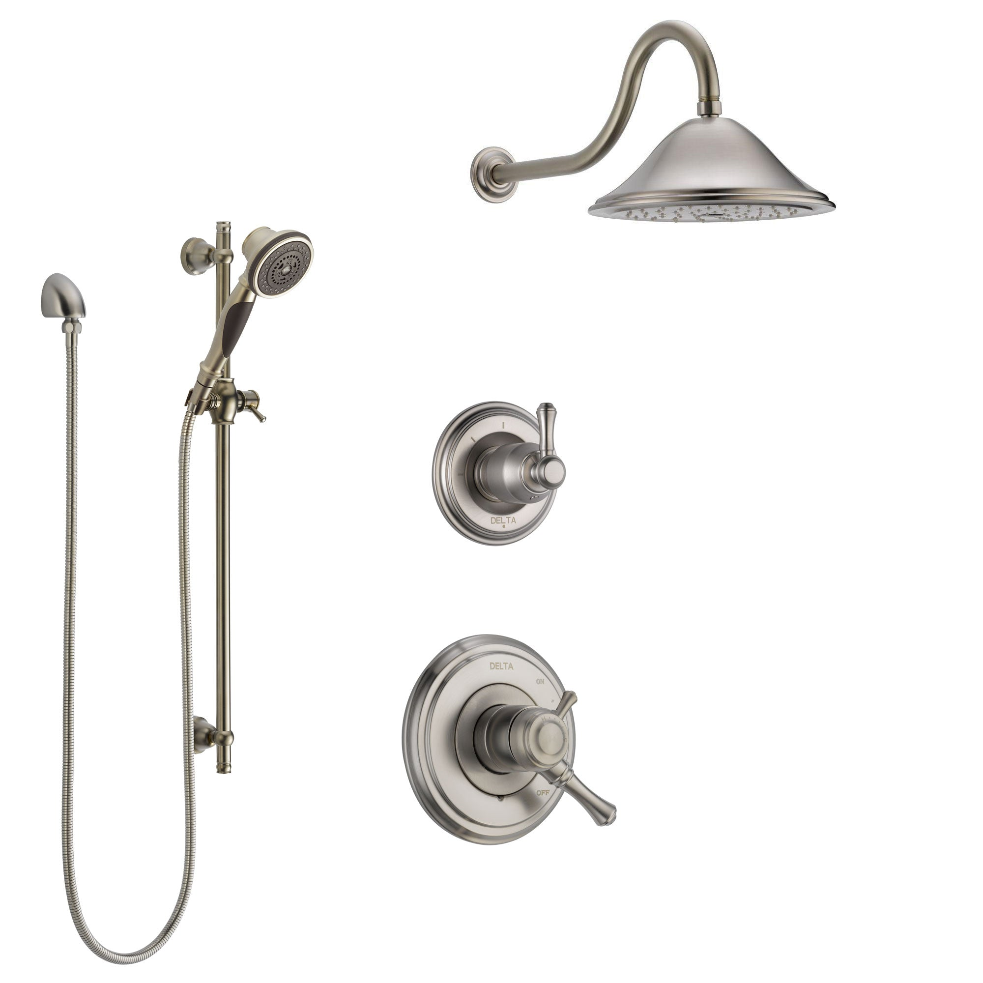 Delta Cassidy Stainless Steel Finish Shower System with Dual Control Handle, 3-Setting Diverter, Showerhead, and Hand Shower with Slidebar SS1797SS2