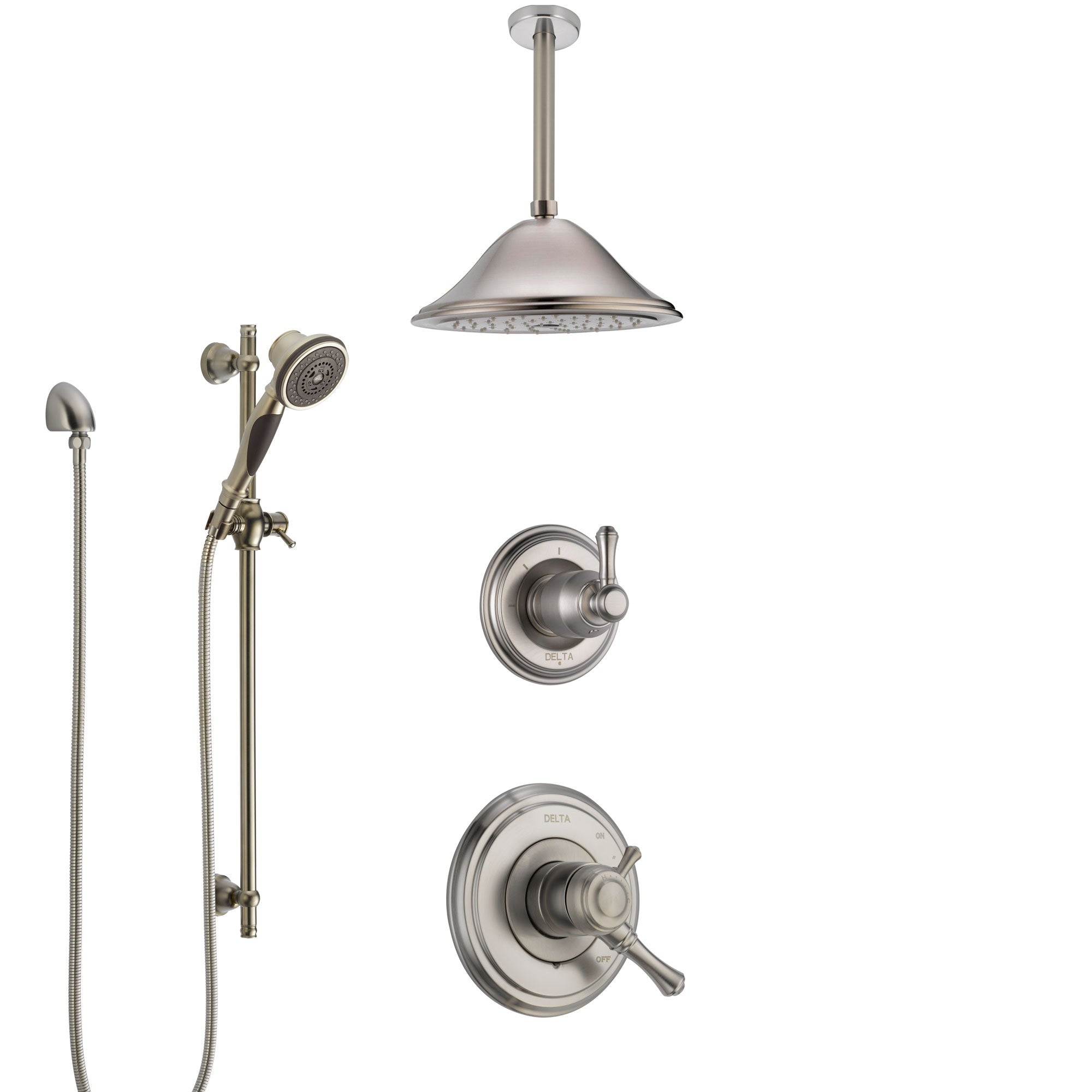 Delta Cassidy Dual Control Handle Stainless Steel Finish Shower System, Diverter, Ceiling Mount Showerhead, and Hand Shower with Slidebar SS1797SS3