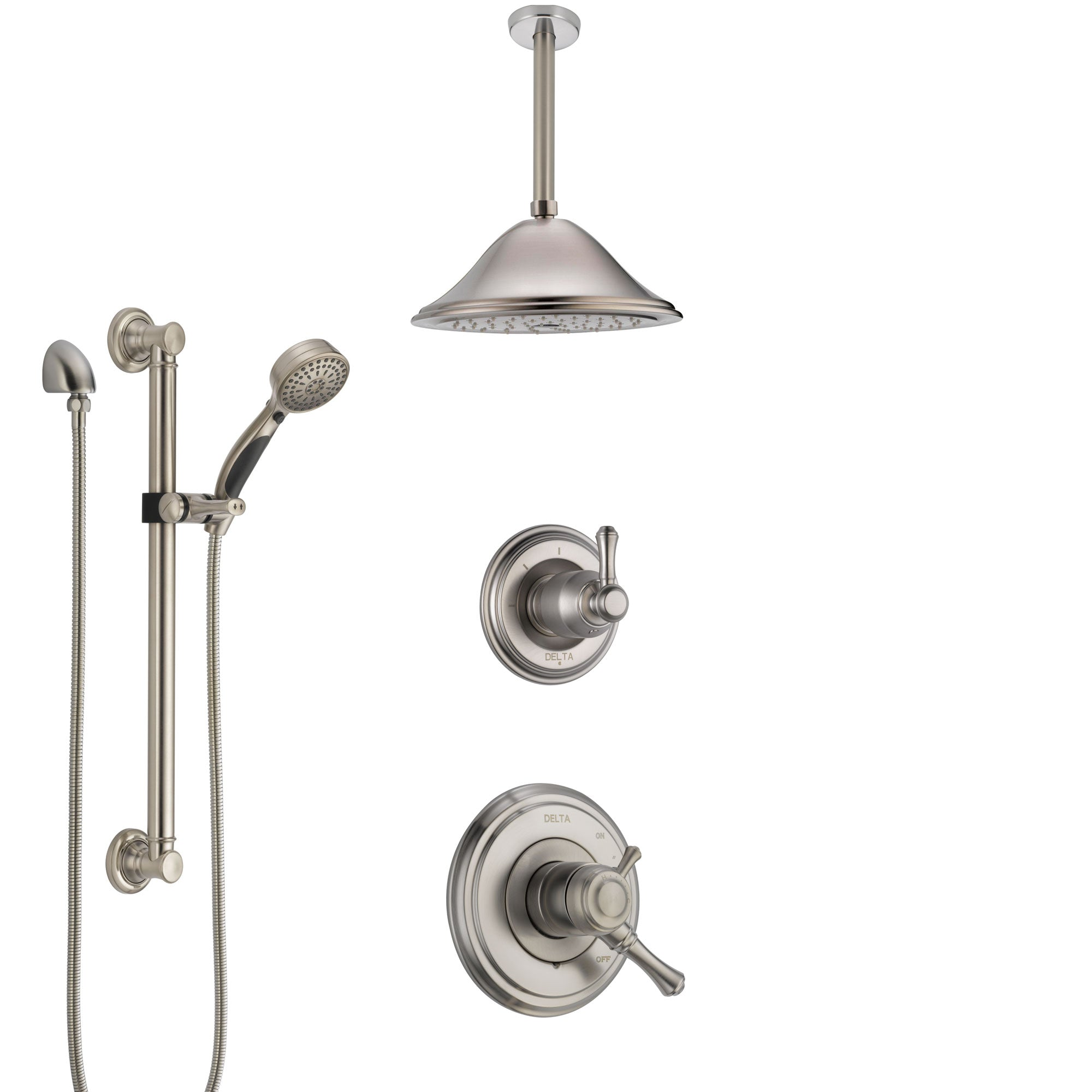 Delta Cassidy Dual Control Handle Stainless Steel Finish Shower System, Diverter, Ceiling Mount Showerhead, and Hand Shower with Grab Bar SS1797SS5