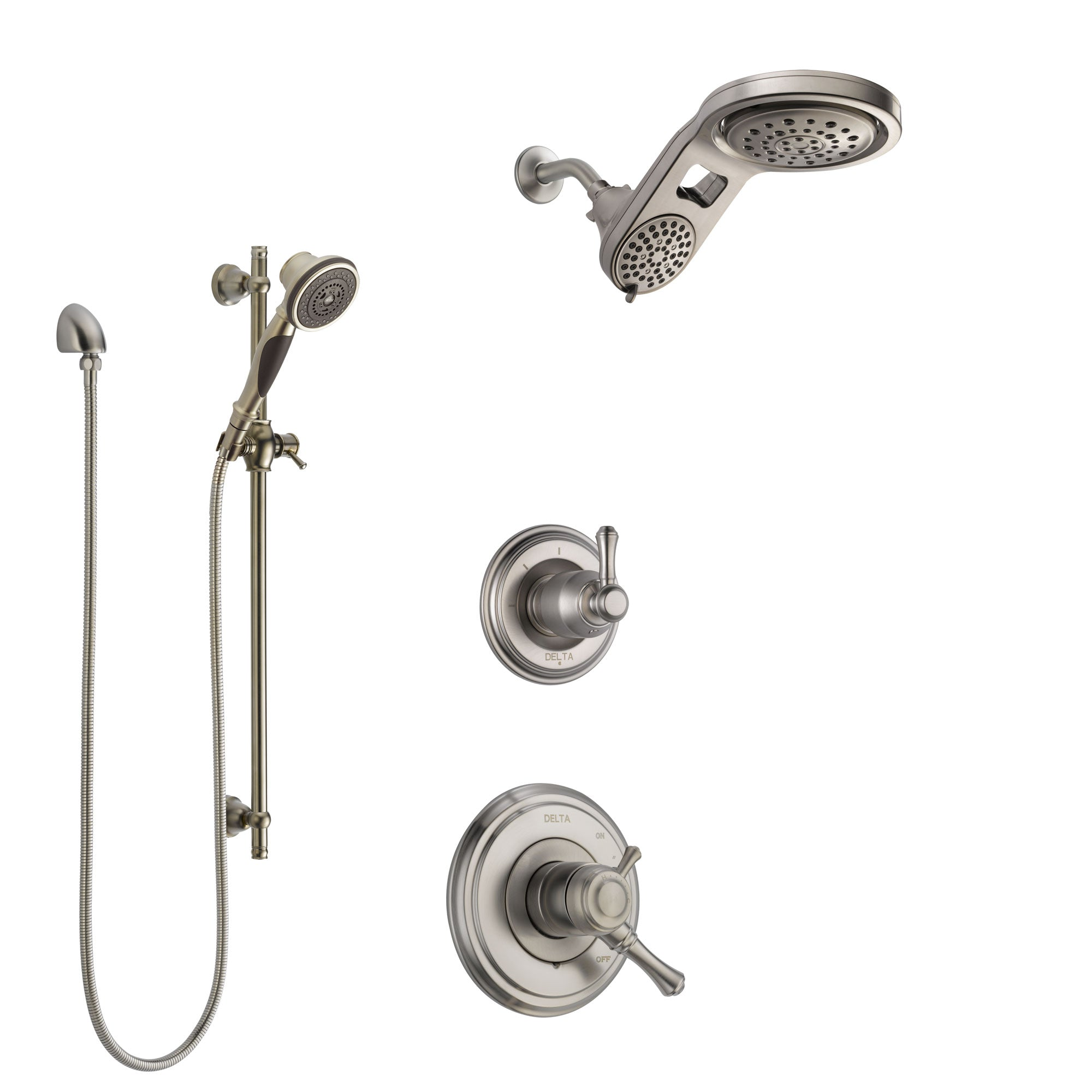 Delta Cassidy Stainless Steel Finish Shower System with Dual Control Handle, Diverter, Dual Showerhead, and Hand Shower with Slidebar SS1797SS6