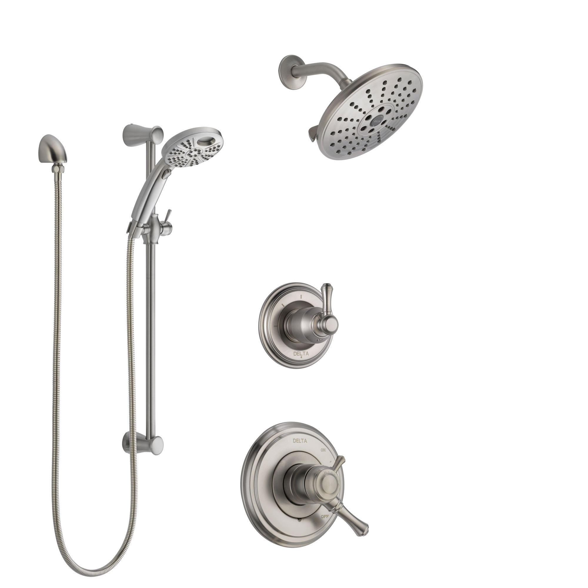 Delta Cassidy Stainless Steel Finish Shower System with Dual Control, 3-Setting Diverter, Showerhead, and Temp2O Hand Shower with Slidebar SS1797SS7