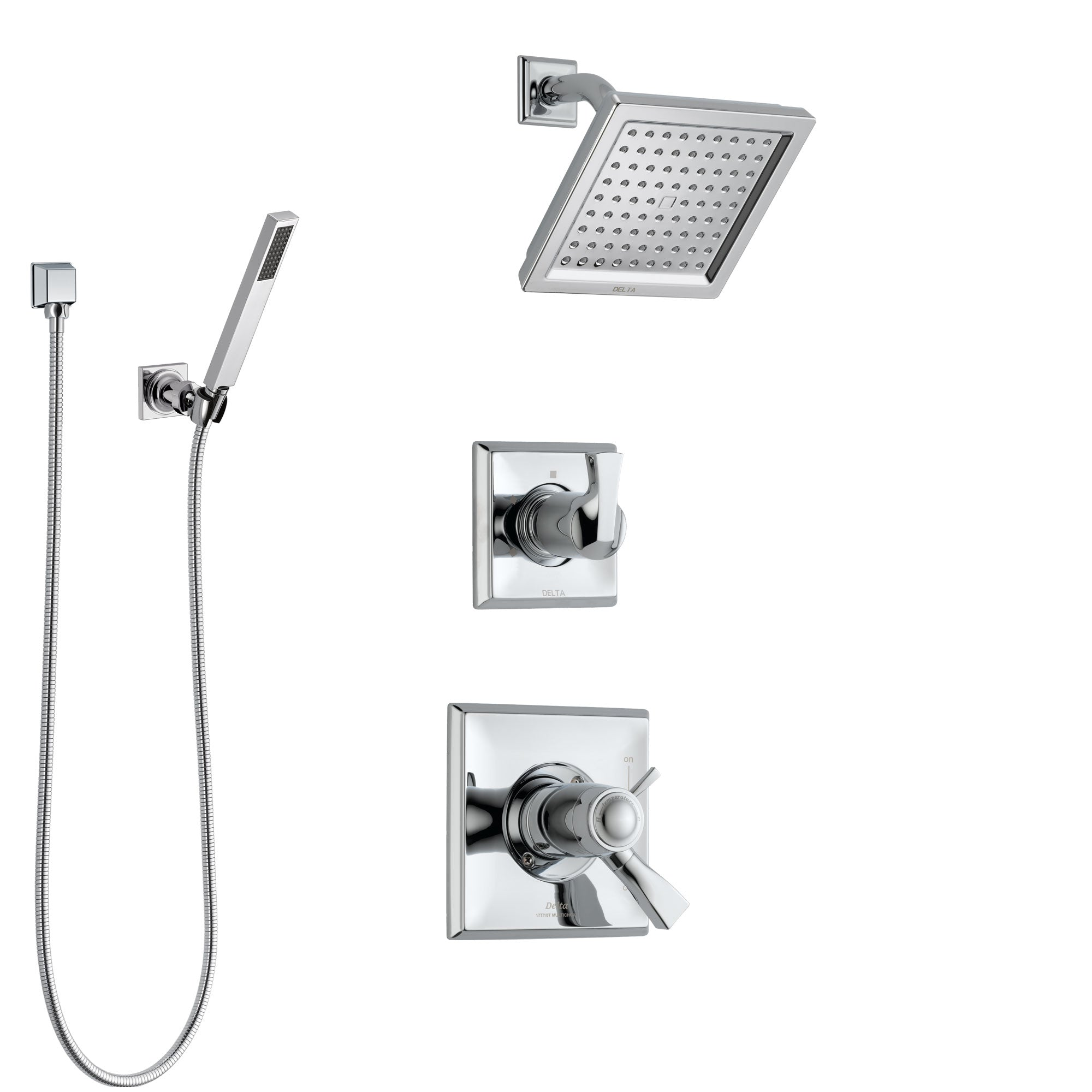 Delta Dryden Chrome Finish Shower System with Dual Thermostatic Control Handle, Diverter, Showerhead, and Hand Shower with Wall Bracket SS17T25115