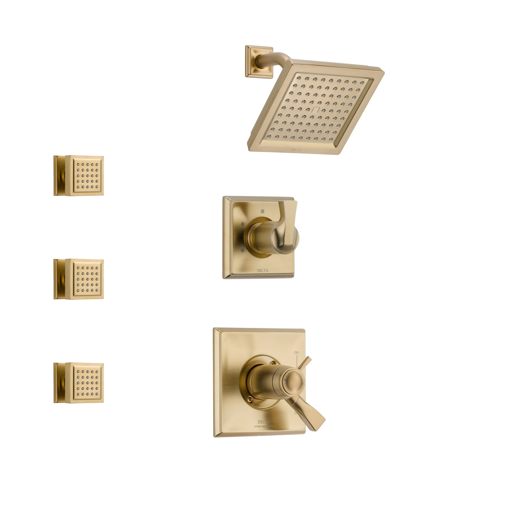 Delta Dryden Champagne Bronze Shower System with Dual Thermostatic Control Handle, 3-Setting Diverter, Showerhead, and 3 Body Sprays SS17T2511CZ1