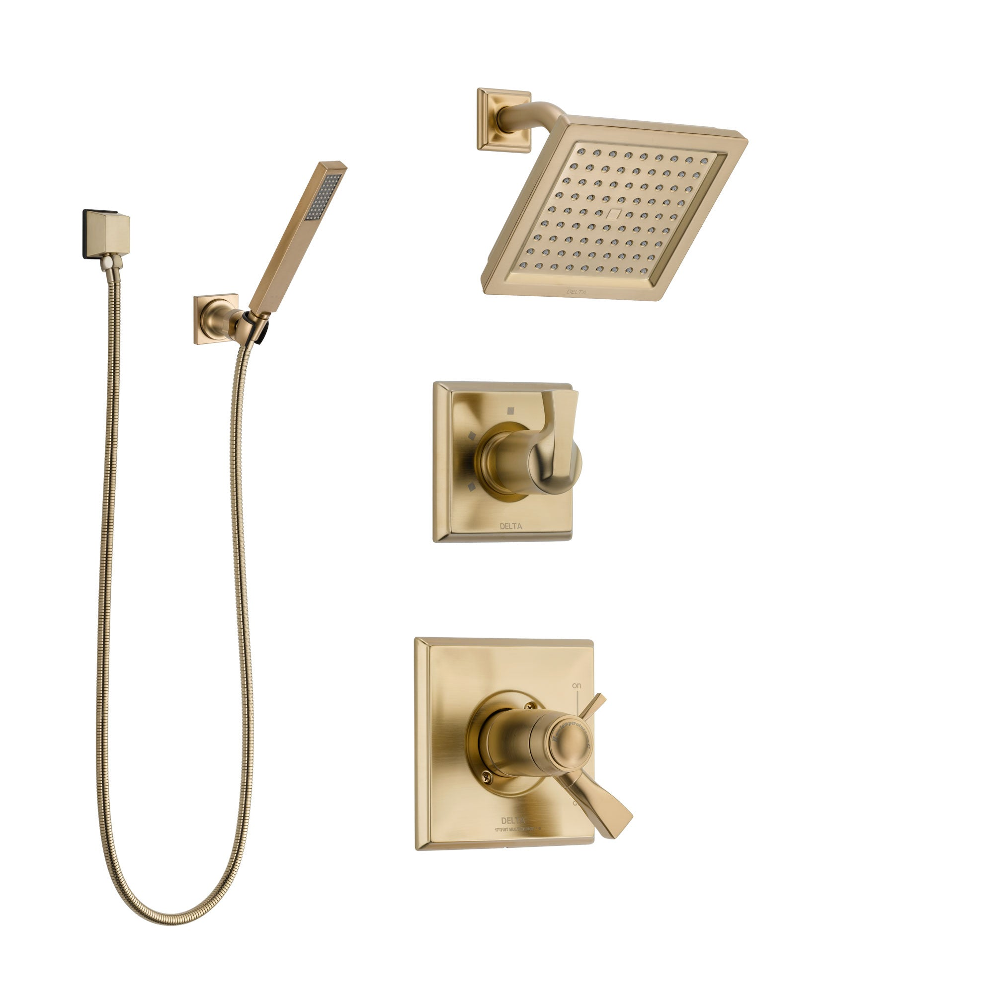 Delta Dryden Champagne Bronze Shower System with Dual Thermostatic Control Handle, Diverter, Showerhead, and Hand Shower SS17T2511CZ3