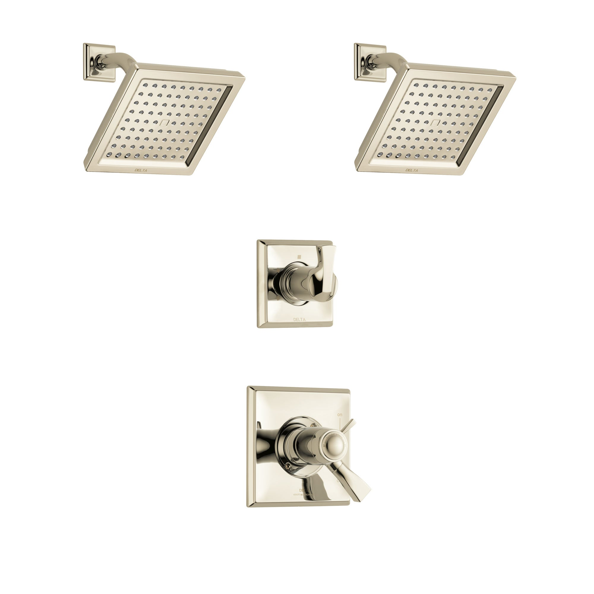 Delta Dryden Polished Nickel Finish Shower System with Dual Thermostatic Control Handle, 3-Setting Diverter, 2 Showerheads SS17T2511PN4