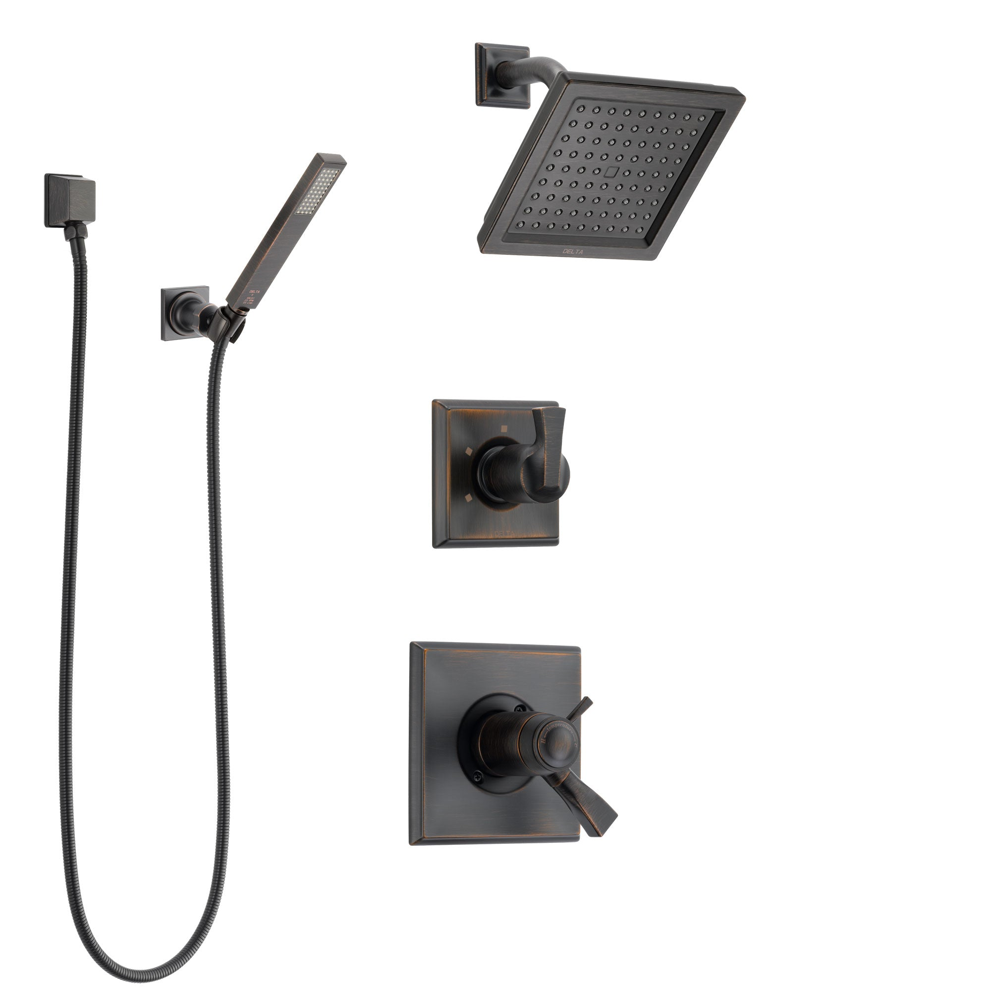 Delta Dryden Venetian Bronze Shower System With Dual Thermostatic Control  Handle, Diverter, Showerhead,