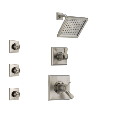 Delta Dryden Dual Thermostatic Control Handle Stainless Steel Finish Shower System, 3-Setting Diverter, Showerhead, and 3 Body Sprays SS17T2511SS2