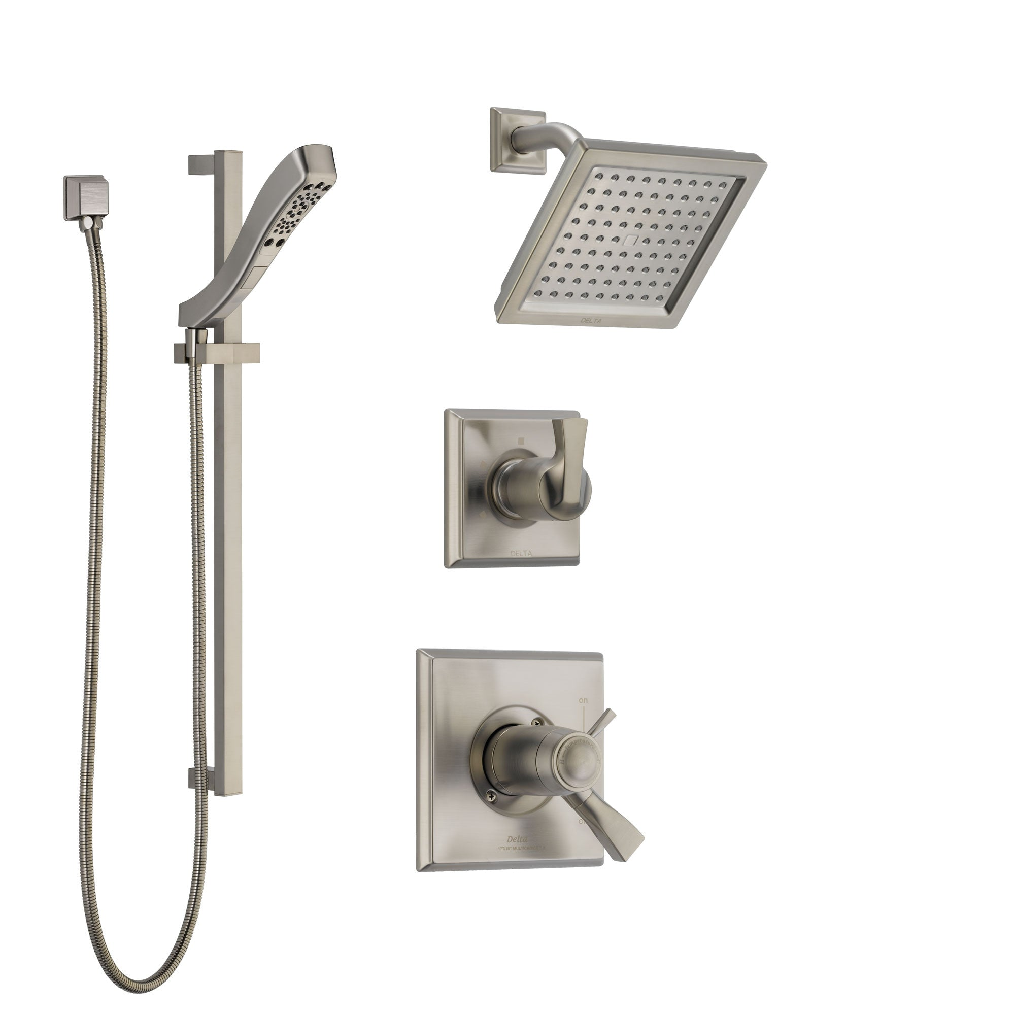 Delta Dryden Dual Thermostatic Control Handle Stainless Steel Finish Shower System, Diverter, Showerhead, and Hand Shower with Slidebar SS17T2511SS4