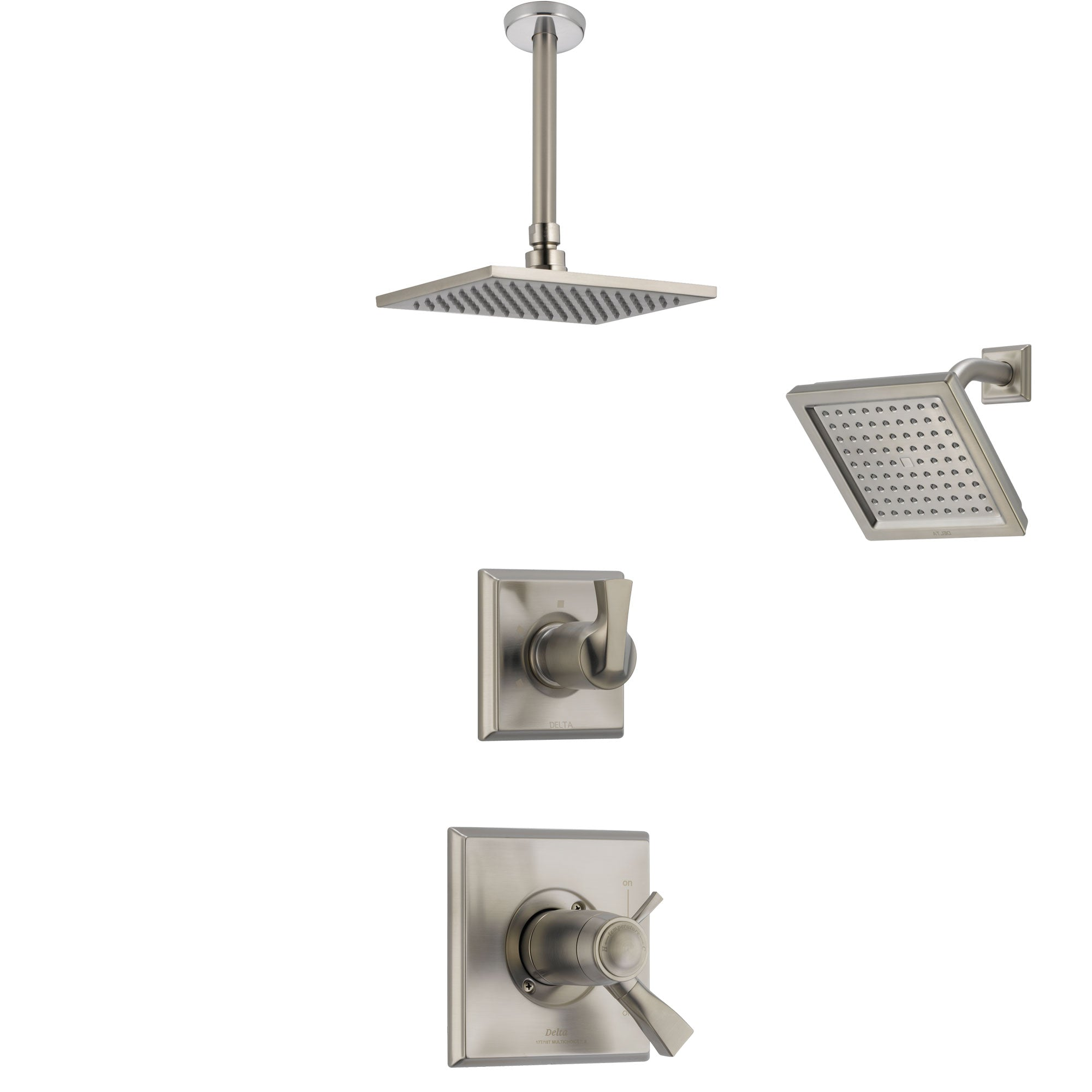 Delta Dryden Dual Thermostatic Control Handle Stainless Steel Finish Shower System, Diverter, Showerhead, and Ceiling Mount Showerhead SS17T2511SS5