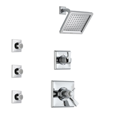 Delta Dryden Chrome Finish Shower System with Dual Thermostatic Control Handle, 3-Setting Diverter, Showerhead, and 3 Body Sprays SS17T25121