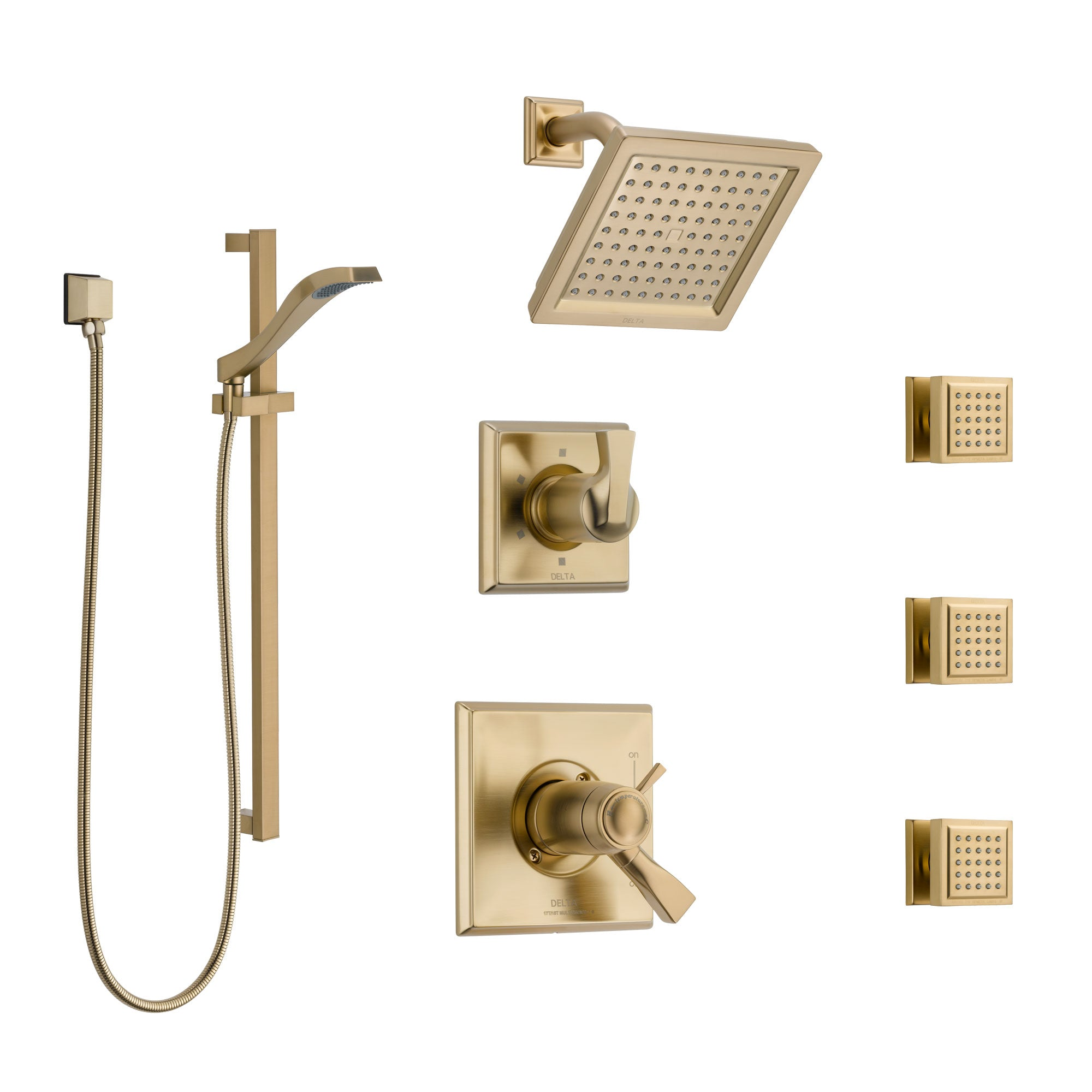 Delta Dryden Champagne Bronze Shower System with Dual Thermostatic Control, Diverter, Showerhead, 3 Body Sprays, and Hand Shower SS17T2512CZ2