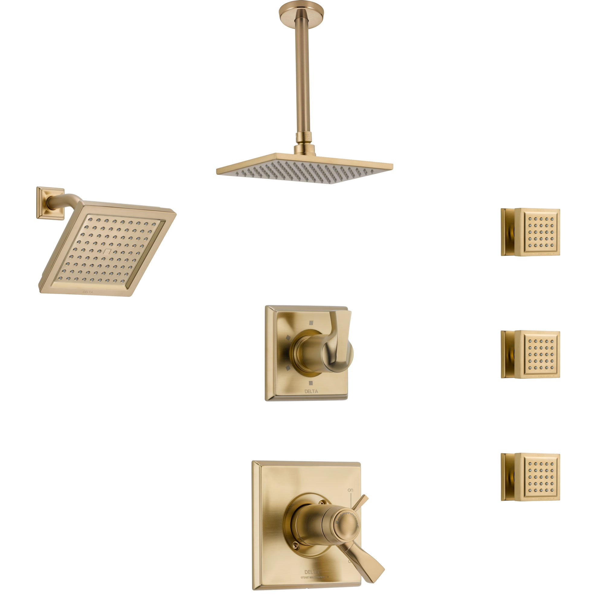Delta Dryden Champagne Bronze Shower System with Dual Thermostatic Control, Diverter, Showerhead, Ceiling Showerhead, and 3 Body Sprays SS17T2512CZ3