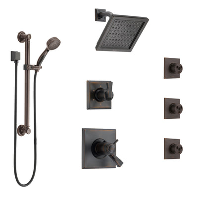 Delta Dryden Venetian Bronze Shower System with Dual Thermostatic Control, Diverter, Showerhead, 3 Body Sprays, and Grab Bar Hand Shower SS17T2512RB2