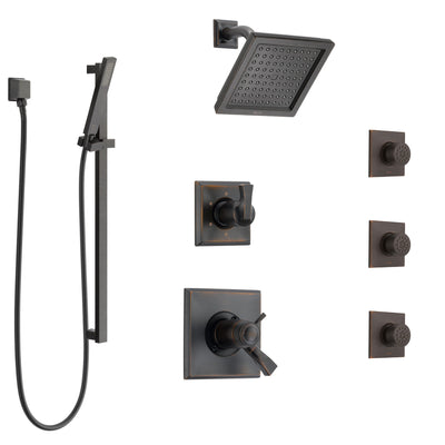 Delta Dryden Venetian Bronze Shower System with Dual Thermostatic Control, 6-Setting Diverter, Showerhead, 3 Body Sprays, and Hand Shower SS17T2512RB4
