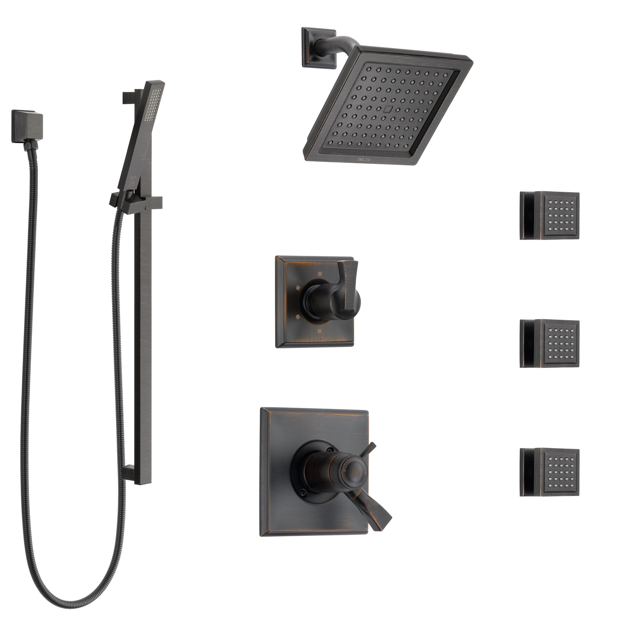 Delta Dryden Venetian Bronze Shower System with Dual Thermostatic Control, 6-Setting Diverter, Showerhead, 3 Body Sprays, and Hand Shower SS17T2512RB6