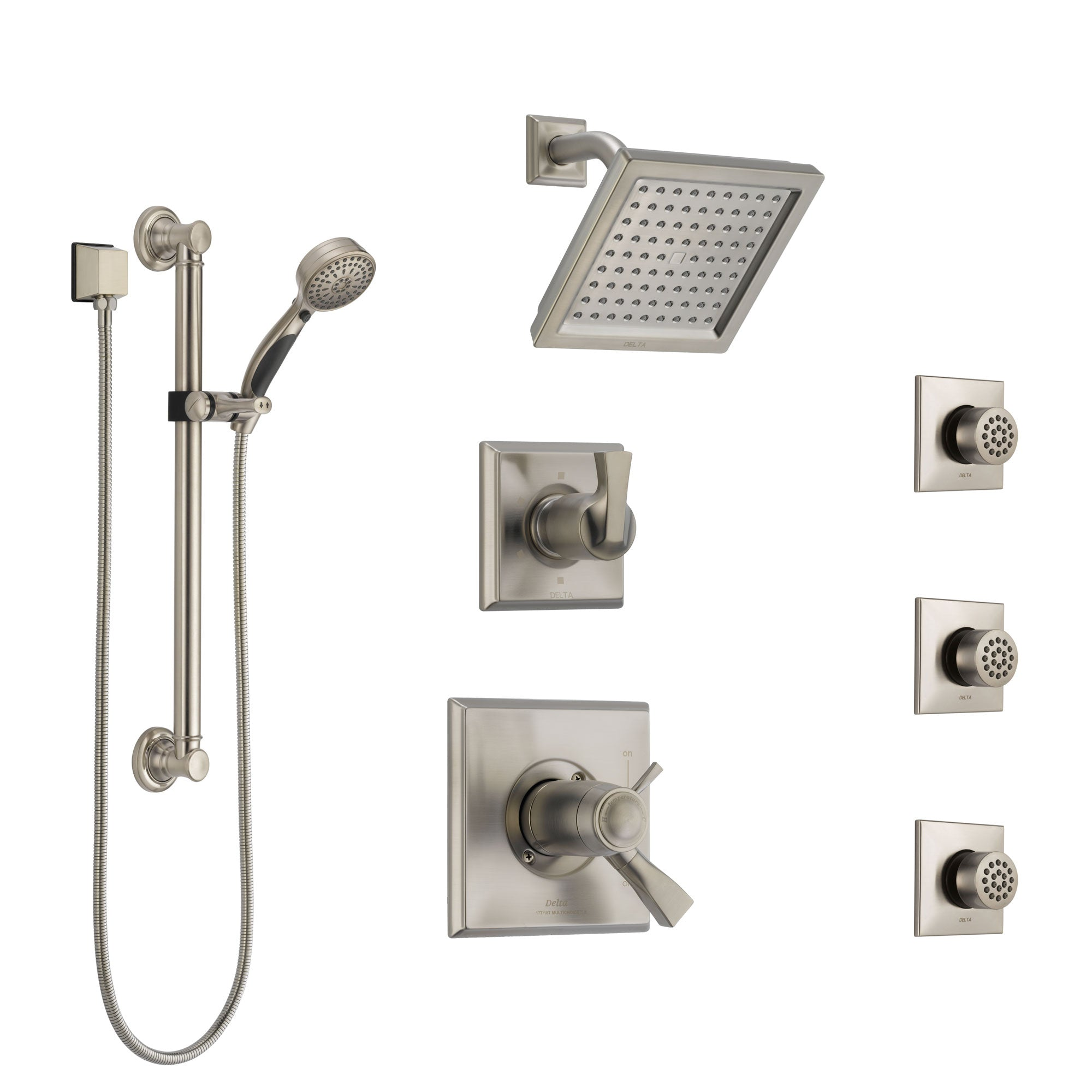 Delta Dryden Dual Thermostatic Control Stainless Steel Finish Shower System, Diverter, Showerhead, 3 Body Sprays, and Grab Bar Hand Spray SS17T2512SS2