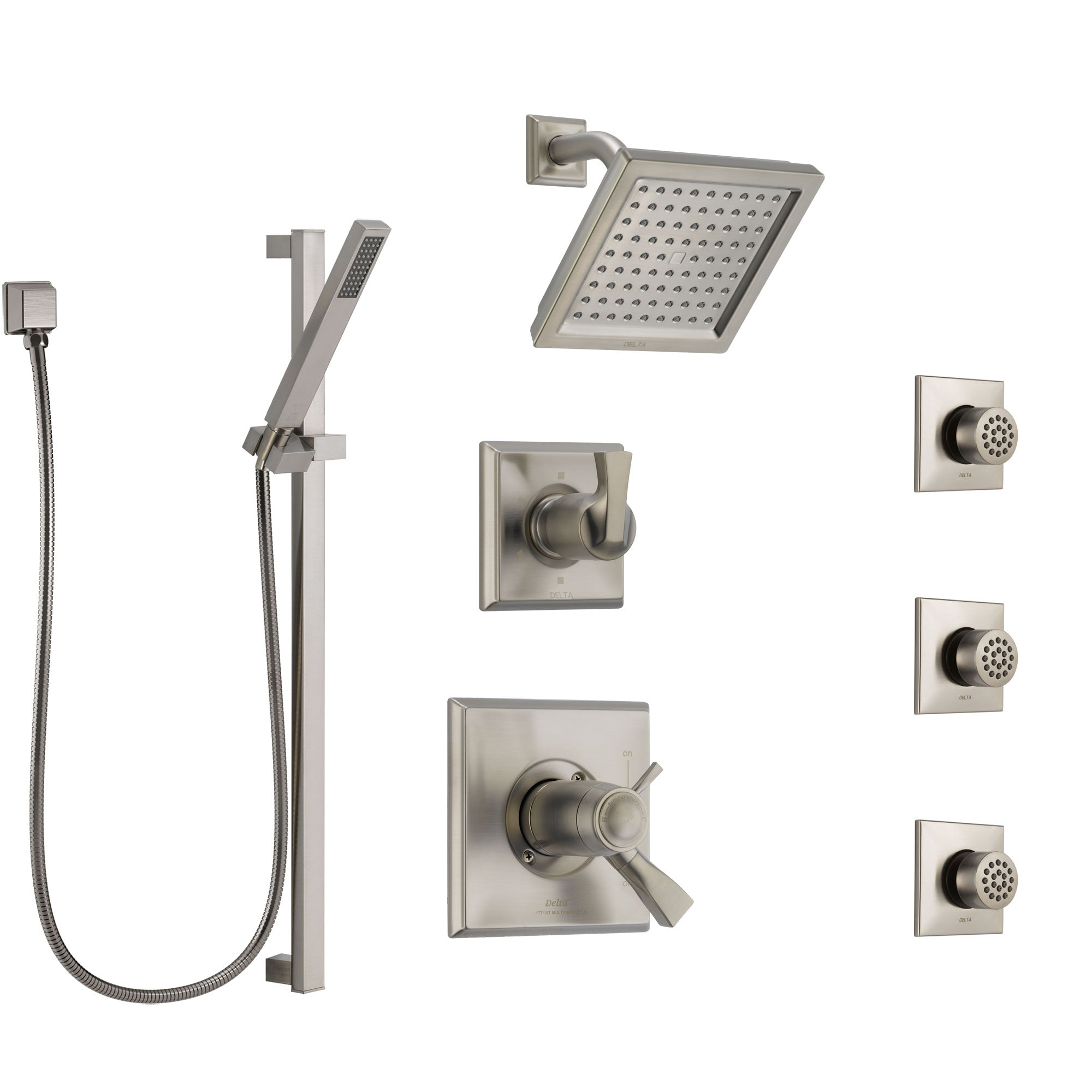 Delta Dryden Dual Thermostatic Control Stainless Steel Finish Shower System, Diverter, Showerhead, 3 Body Sprays, and Hand Shower SS17T2512SS3