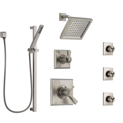 Delta Dryden Dual Thermostatic Control Stainless Steel Finish Shower System, Diverter, Showerhead, 3 Body Sprays, and Hand Shower SS17T2512SS4