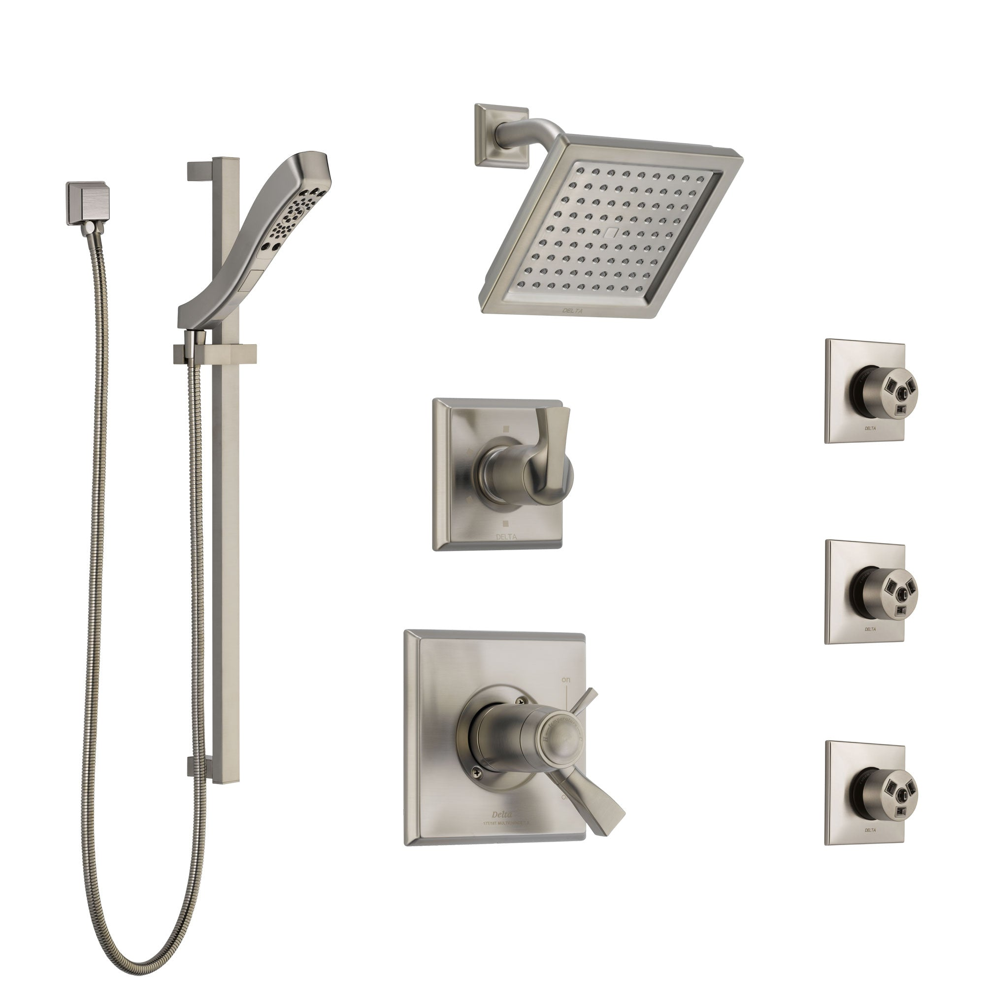 Delta Dryden Dual Thermostatic Control Stainless Steel Finish Shower System, Diverter, Showerhead, 3 Body Sprays, and Hand Shower SS17T2512SS5