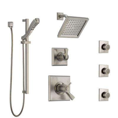 Delta Dryden Dual Thermostatic Control Stainless Steel Finish Shower System, Diverter, Showerhead, 3 Body Sprays, and Hand Shower SS17T2512SS6