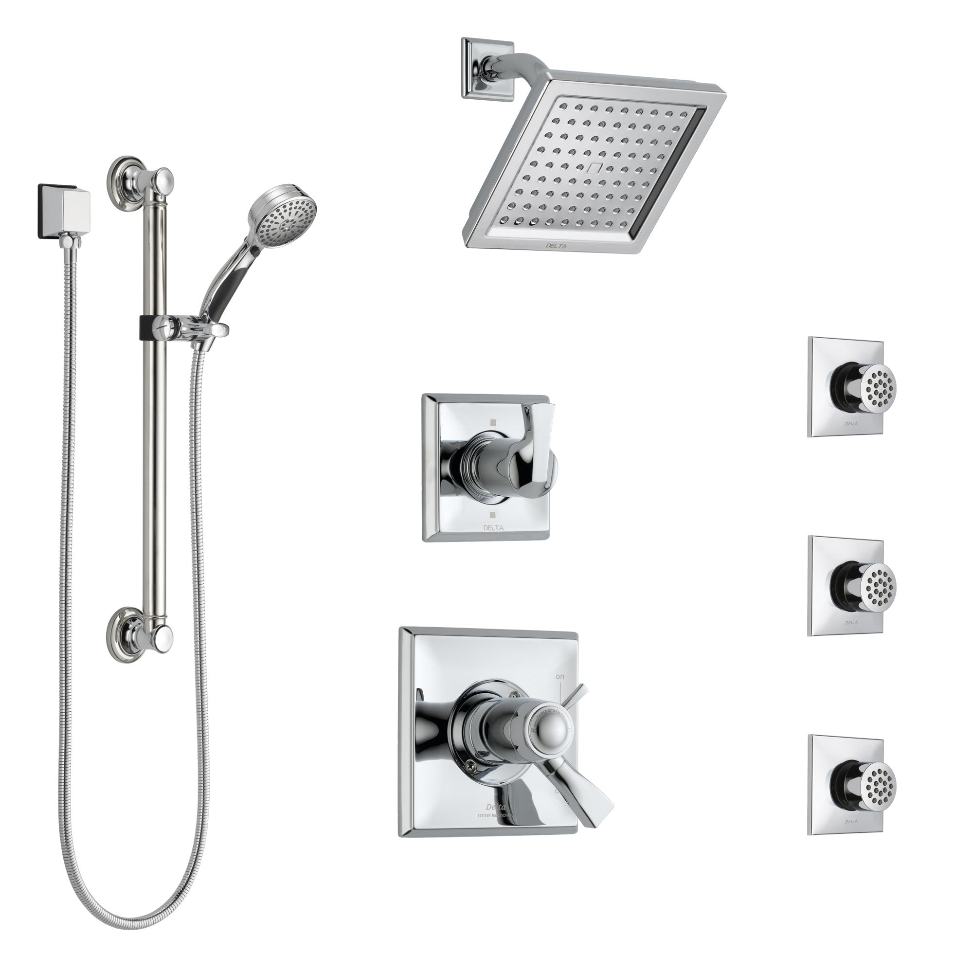 Delta Dryden Chrome Shower System with Dual Thermostatic Control, Diverter, Showerhead, 3 Body Sprays, and Hand Shower with Grab Bar SS17T25131