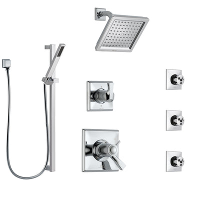 Delta Dryden Chrome Shower System with Dual Thermostatic Control Handle, 6-Setting Diverter, Showerhead, 3 Body Sprays, and Hand Shower SS17T25133