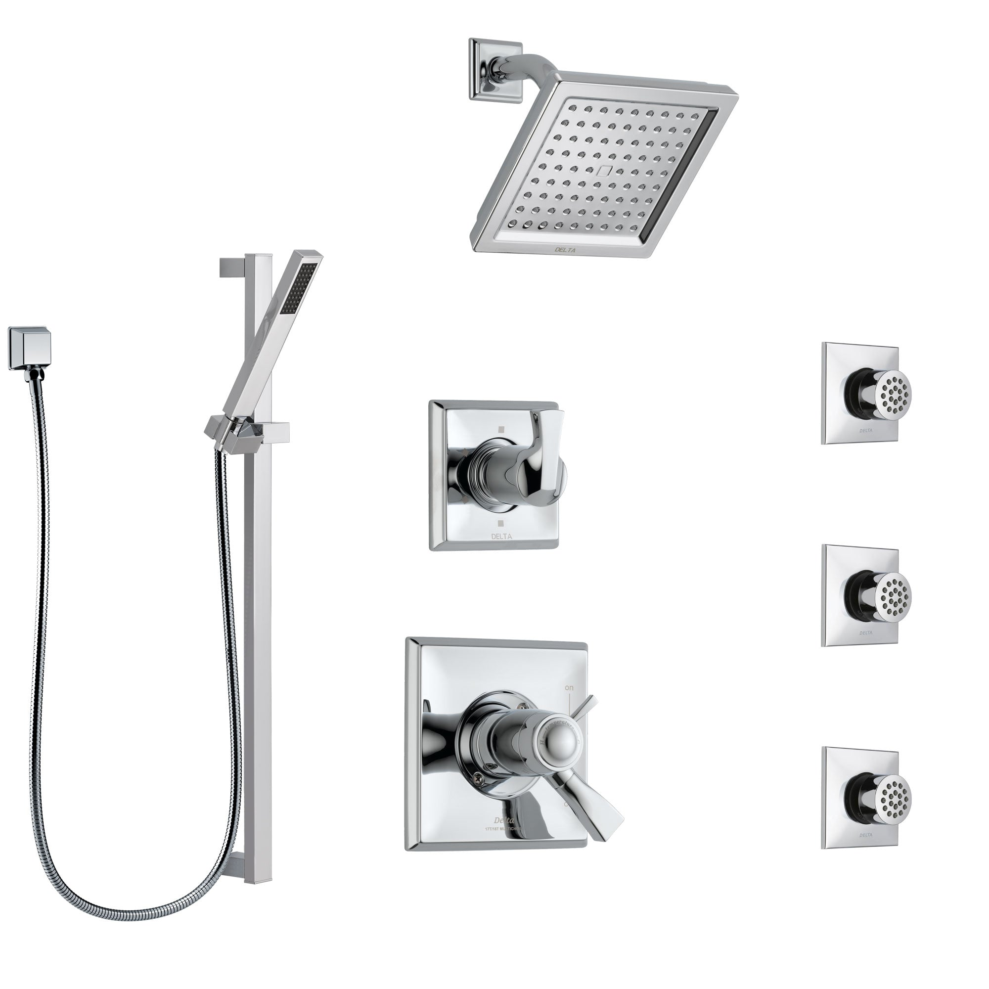 Delta Dryden Chrome Shower System with Dual Thermostatic Control Handle, 6-Setting Diverter, Showerhead, 3 Body Sprays, and Hand Shower SS17T25134