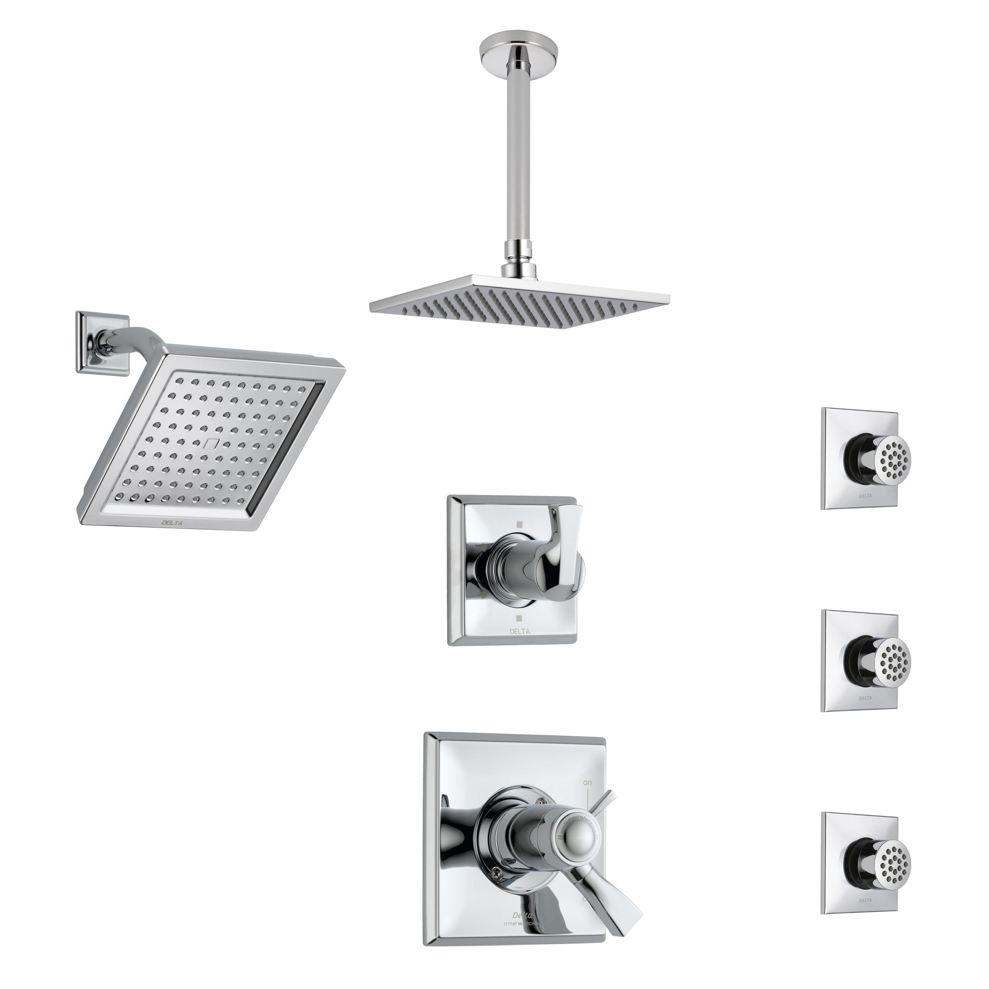 Delta Dryden Chrome Shower System with Dual Thermostatic Control, Diverter, Showerhead, Ceiling Mount Showerhead, and 3 Body Sprays SS17T25135