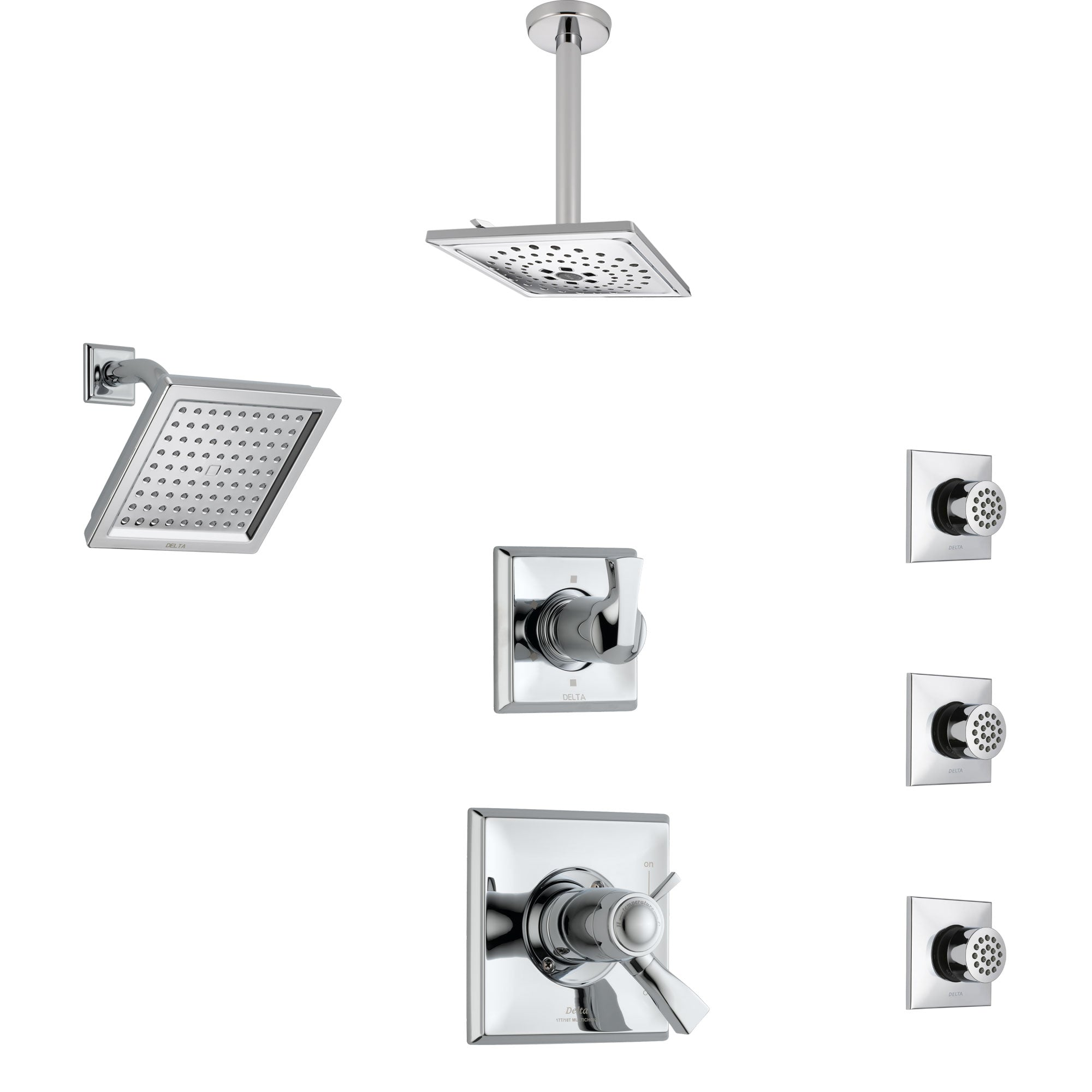 Delta Dryden Chrome Shower System with Dual Thermostatic Control, Diverter, Showerhead, Ceiling Mount Showerhead, and 3 Body Sprays SS17T25145