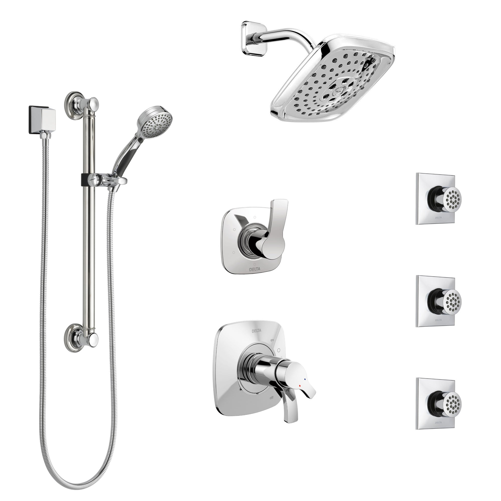 Delta Tesla Chrome Shower System with Dual Thermostatic Control, Diverter, Showerhead, 3 Body Sprays, and Hand Shower with Grab Bar SS17T25211