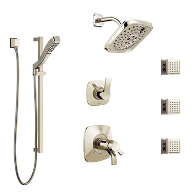 Delta Tesla Polished Nickel Shower System with Dual Thermostatic Control, 6-Setting Diverter, Showerhead, 3 Body Sprays, and Hand Shower SS17T2521PN1