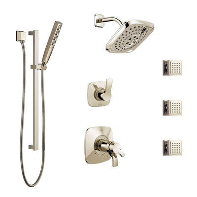 Delta Tesla Polished Nickel Shower System with Dual Thermostatic Control, 6-Setting Diverter, Showerhead, 3 Body Sprays, and Hand Shower SS17T2521PN3