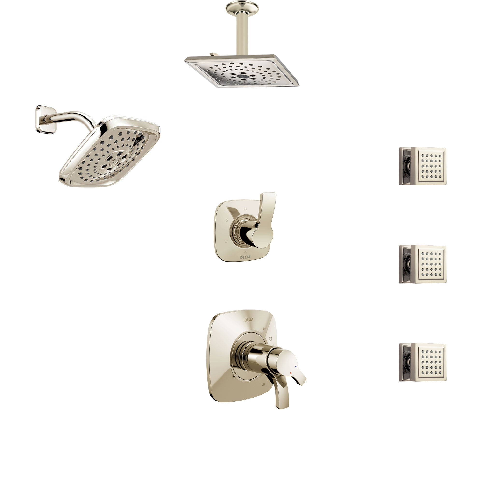 Delta Tesla Polished Nickel Shower System with Dual Thermostatic Control, Diverter, Showerhead, Ceiling Showerhead, and 3 Body Sprays SS17T2521PN4