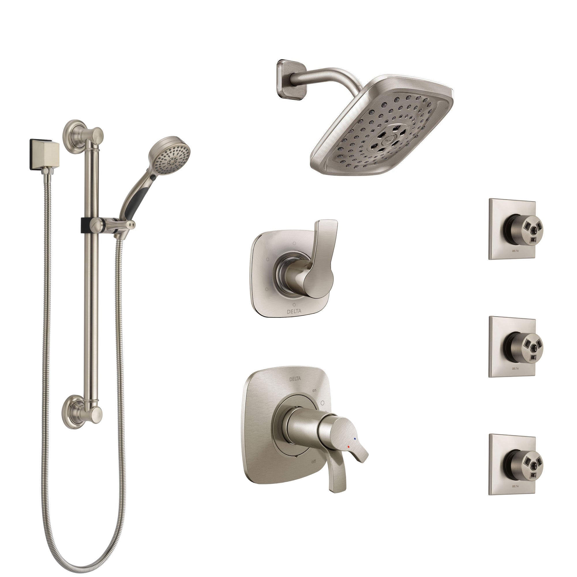 Delta Tesla Dual Thermostatic Control Stainless Steel Finish Shower System, Diverter, Showerhead, 3 Body Sprays, and Grab Bar Hand Shower SS17T2521SS1