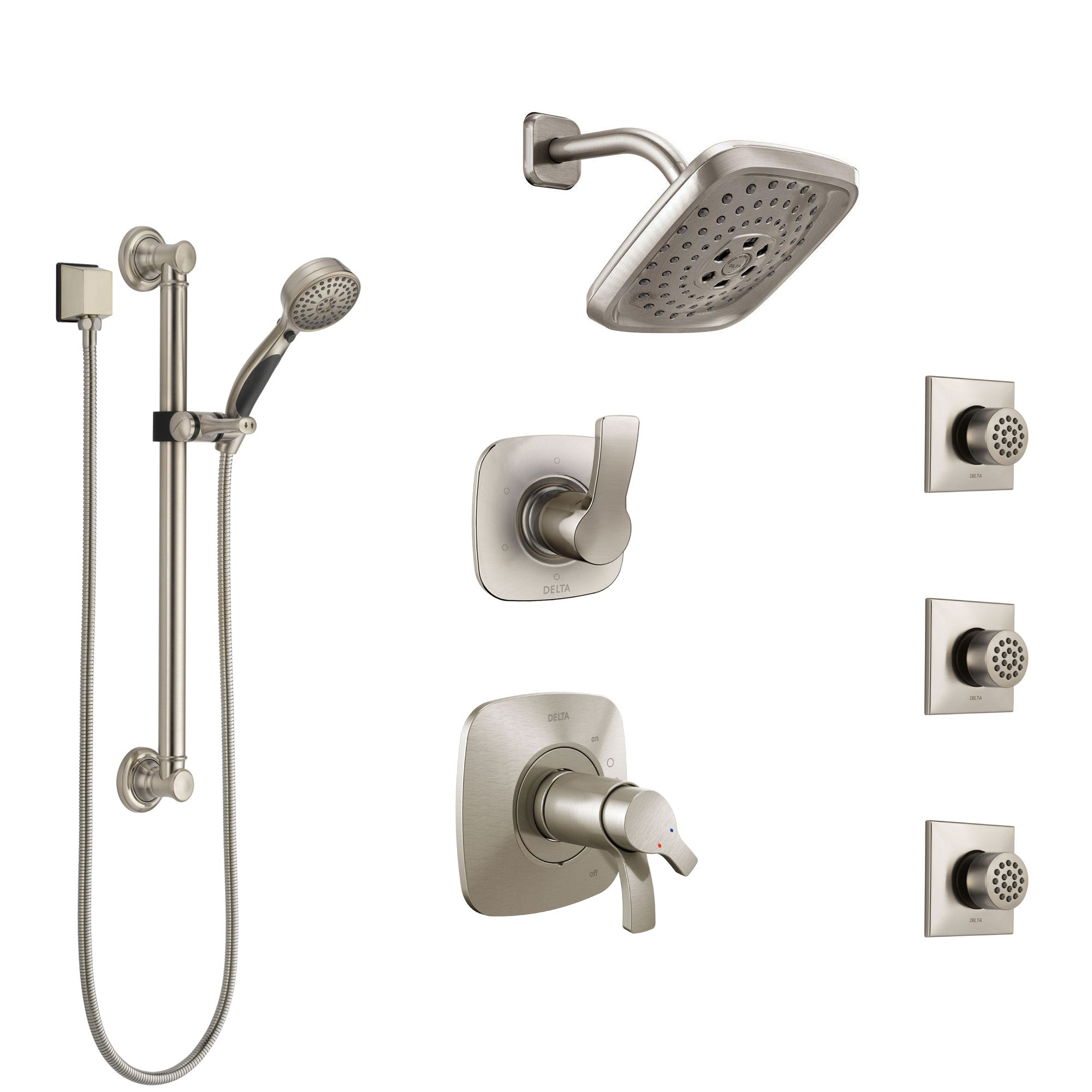 Delta Tesla Dual Thermostatic Control Stainless Steel Finish Shower System, Diverter, Showerhead, 3 Body Sprays, and Grab Bar Hand Shower SS17T2521SS2