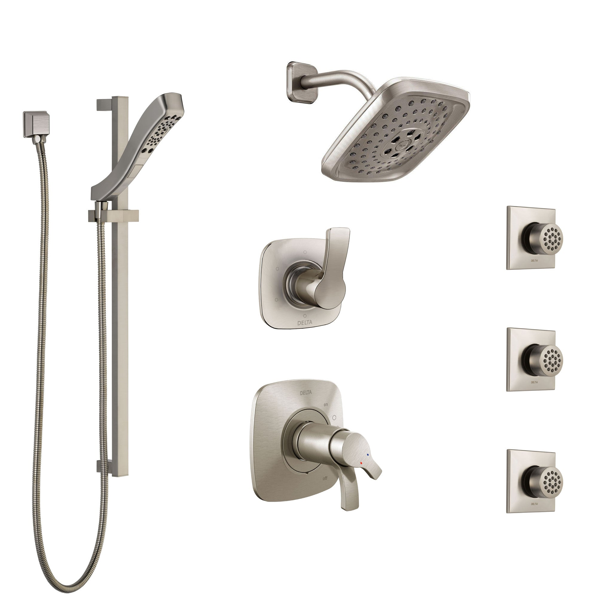 Delta Tesla Dual Thermostatic Control Stainless Steel Finish Shower System, Diverter, Showerhead, 3 Body Sprays, and Hand Shower SS17T2521SS3